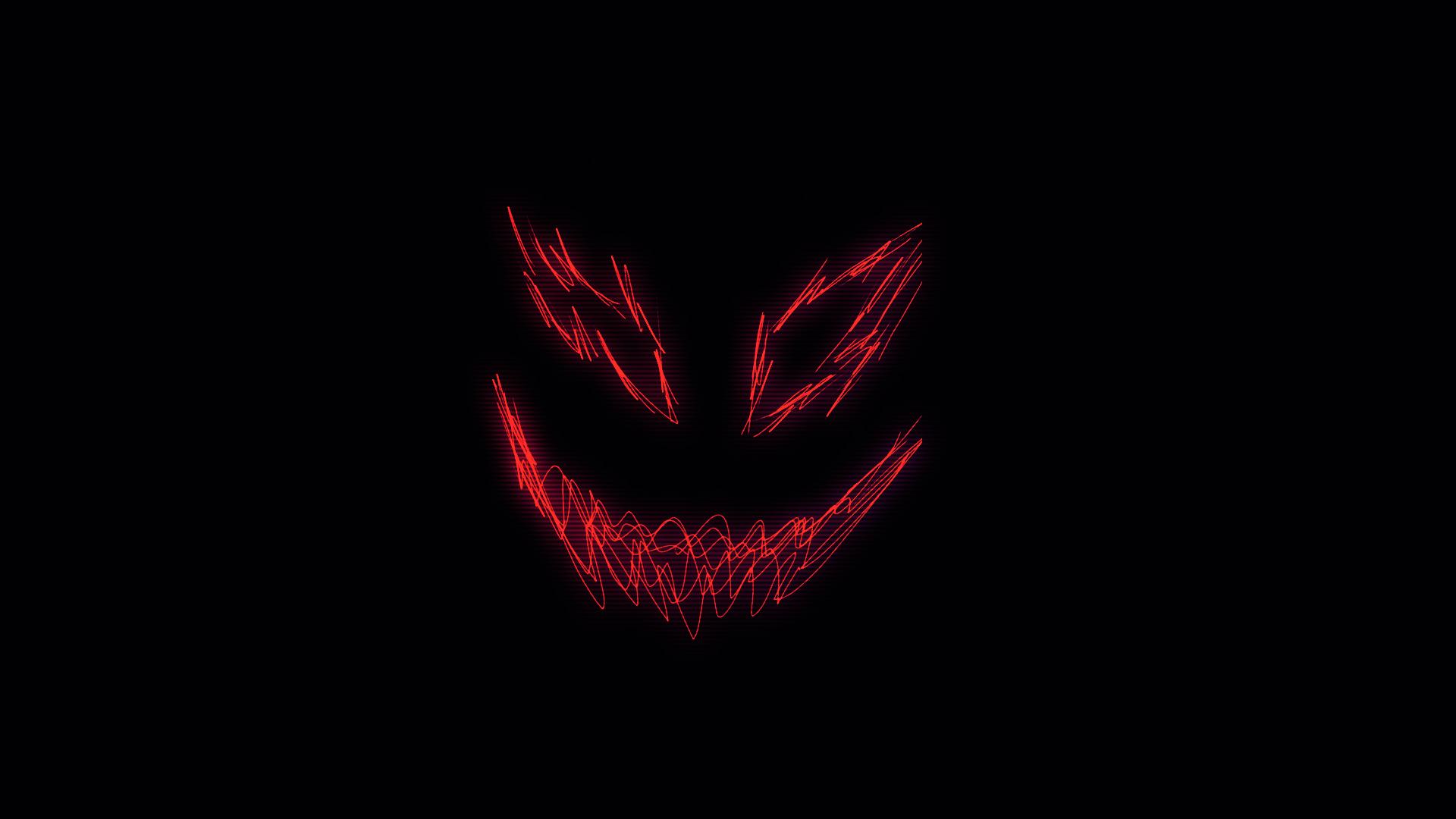 General 1920x1080 demon smiling smile large eyes dark glitch art neon pointy teeth minimalism creature Photoshop waveforms