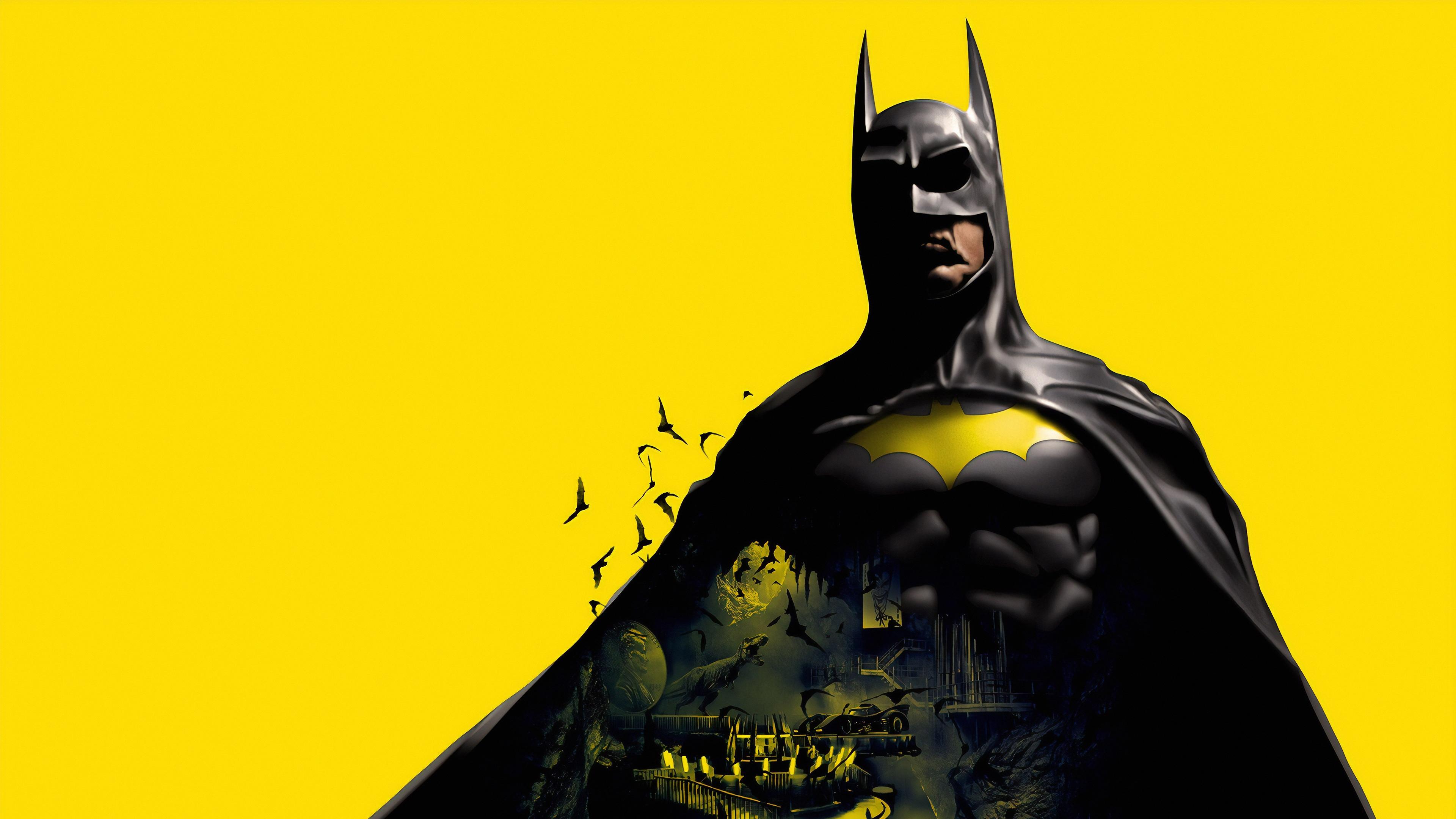 General 3840x2160 Batman artwork yellow background simple background bats Batcave DC Comics Batmobile