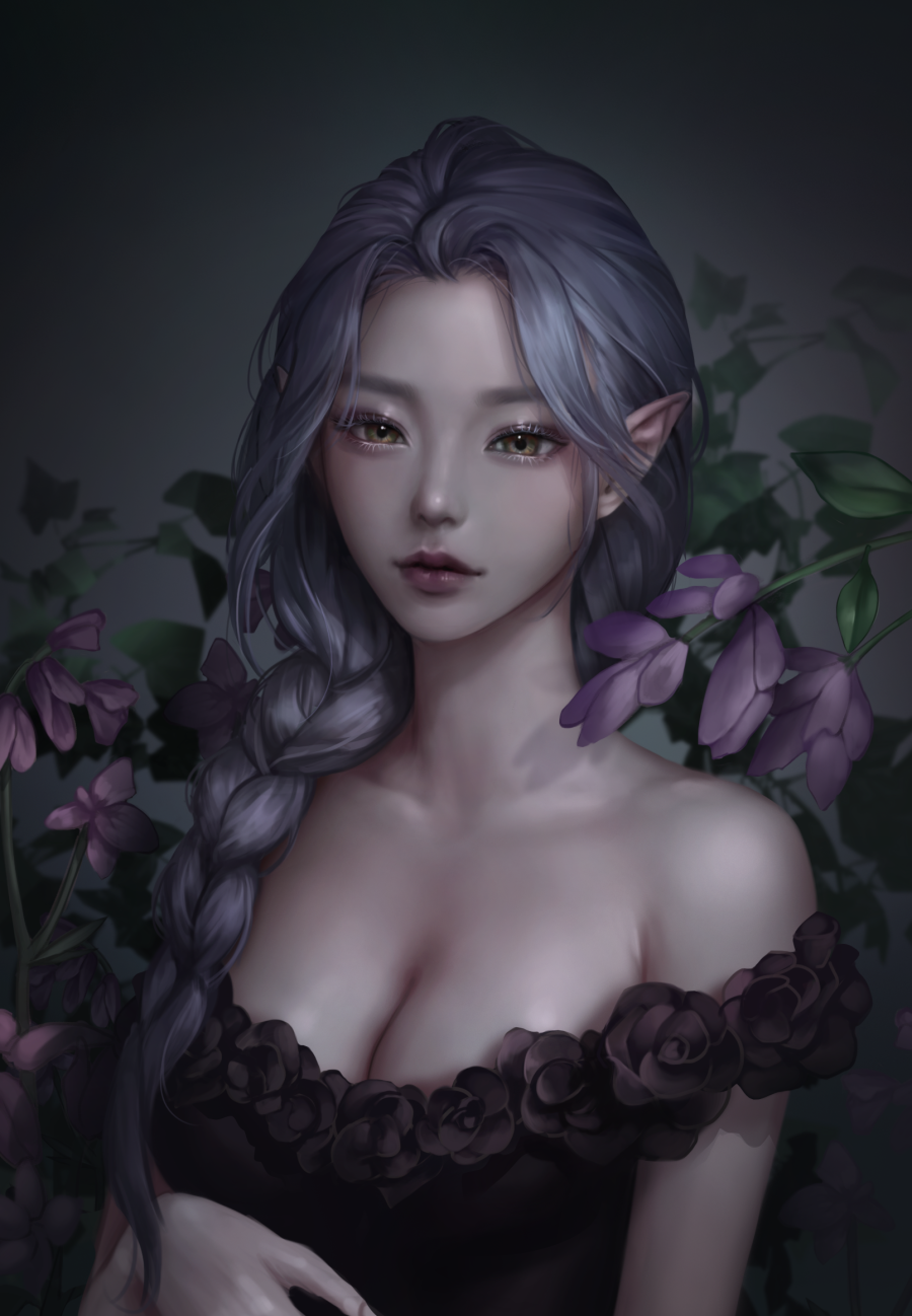 General 900x1298 Kangagi97 women fantasy girl purple hair brown eyes elf ears dress black dress artwork fan art digital art elves