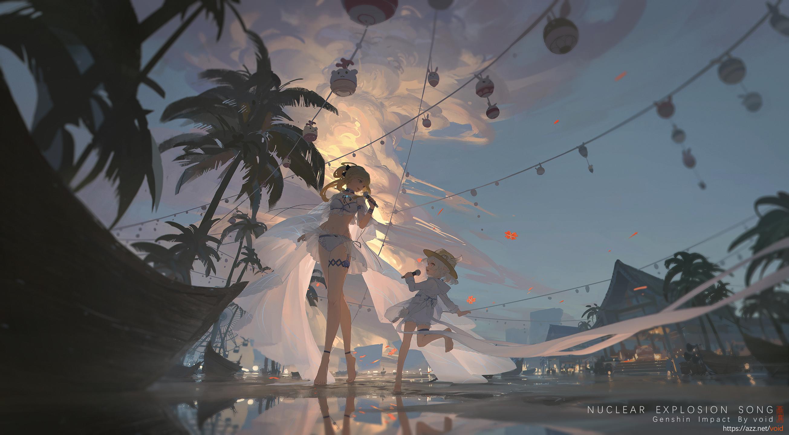 Anime 2610x1440 anime girls game art Klee (Genshin Impact) Genshin Impact void_0 Jean (Genshin Impact) thighs