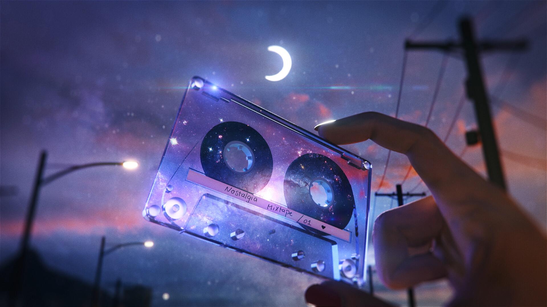 General 1920x1080 artwork tape Moon night space stars