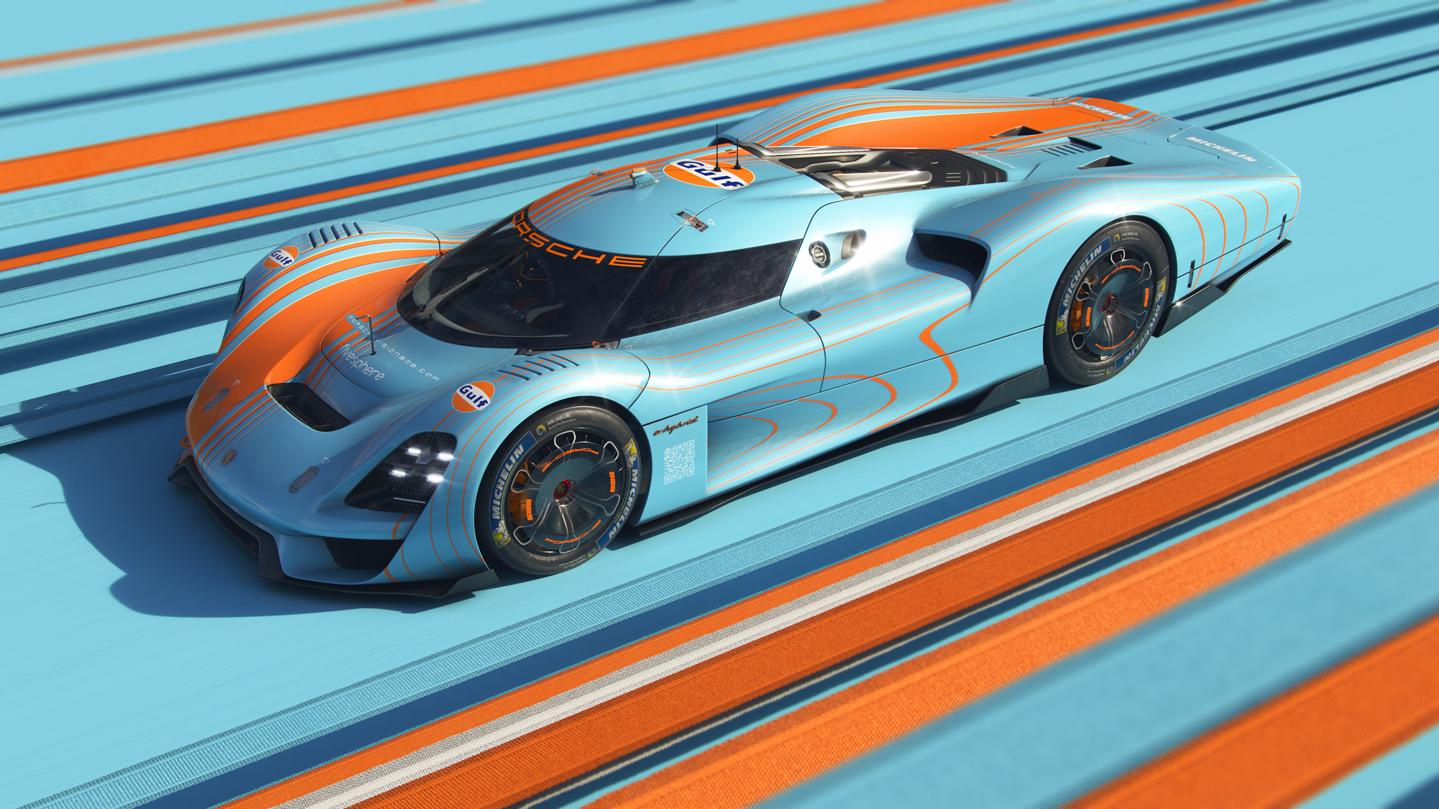 General 2800x1574 Porsche Porsche 908/04 gulf car concept car lines sports car CGI light blue orange vehicle Michelin