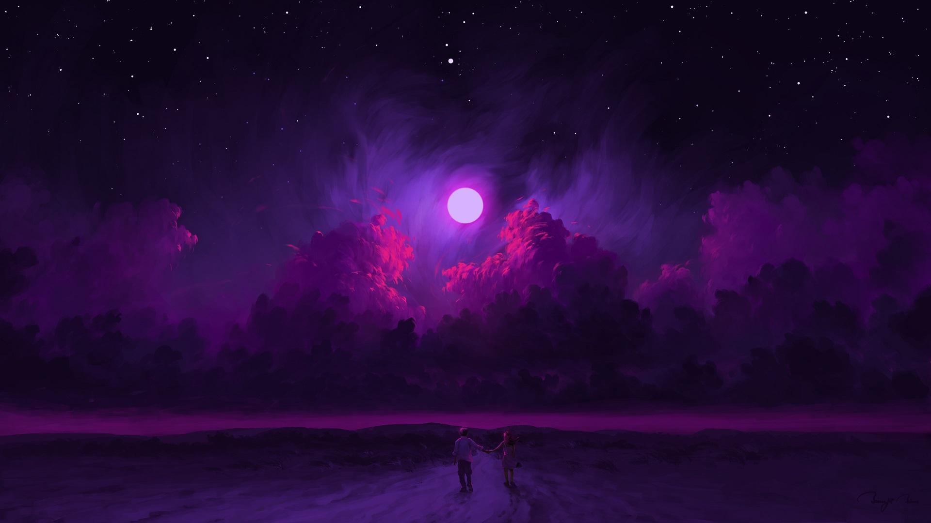 General 1920x1080 digital painting artwork night sky Moon clouds couple BisBiswas purple