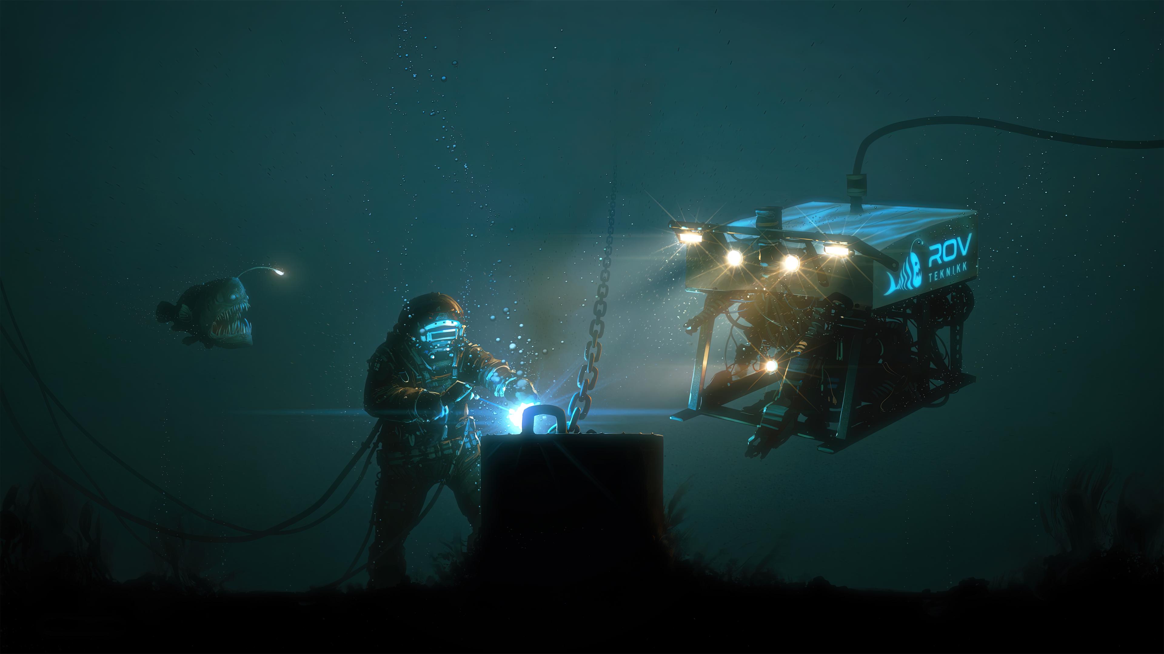 General 3840x2160 welding technology deep sea diving robot frogfish digital art digital underwater