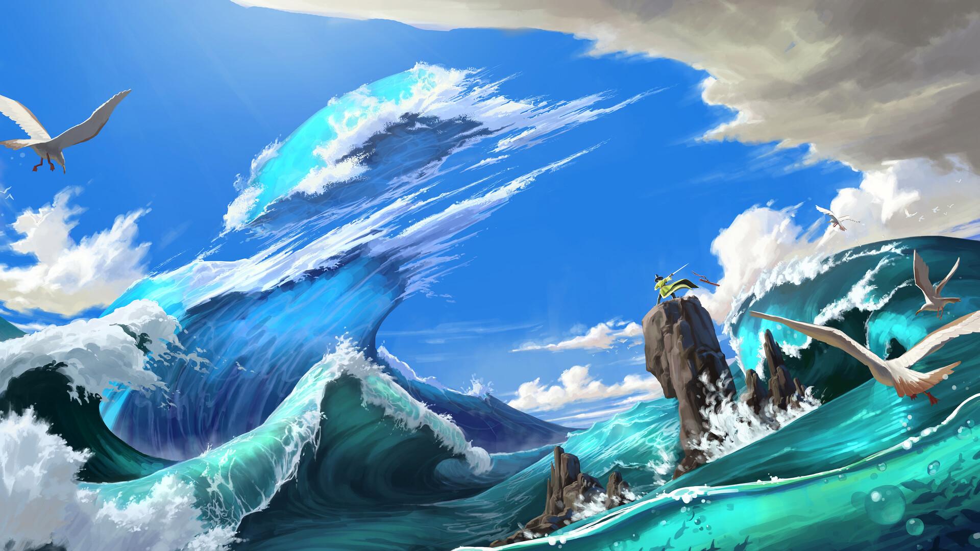 General 1920x1080 HUHSOO digital art fantasy art sword waves sea birds clouds seagulls adventurers