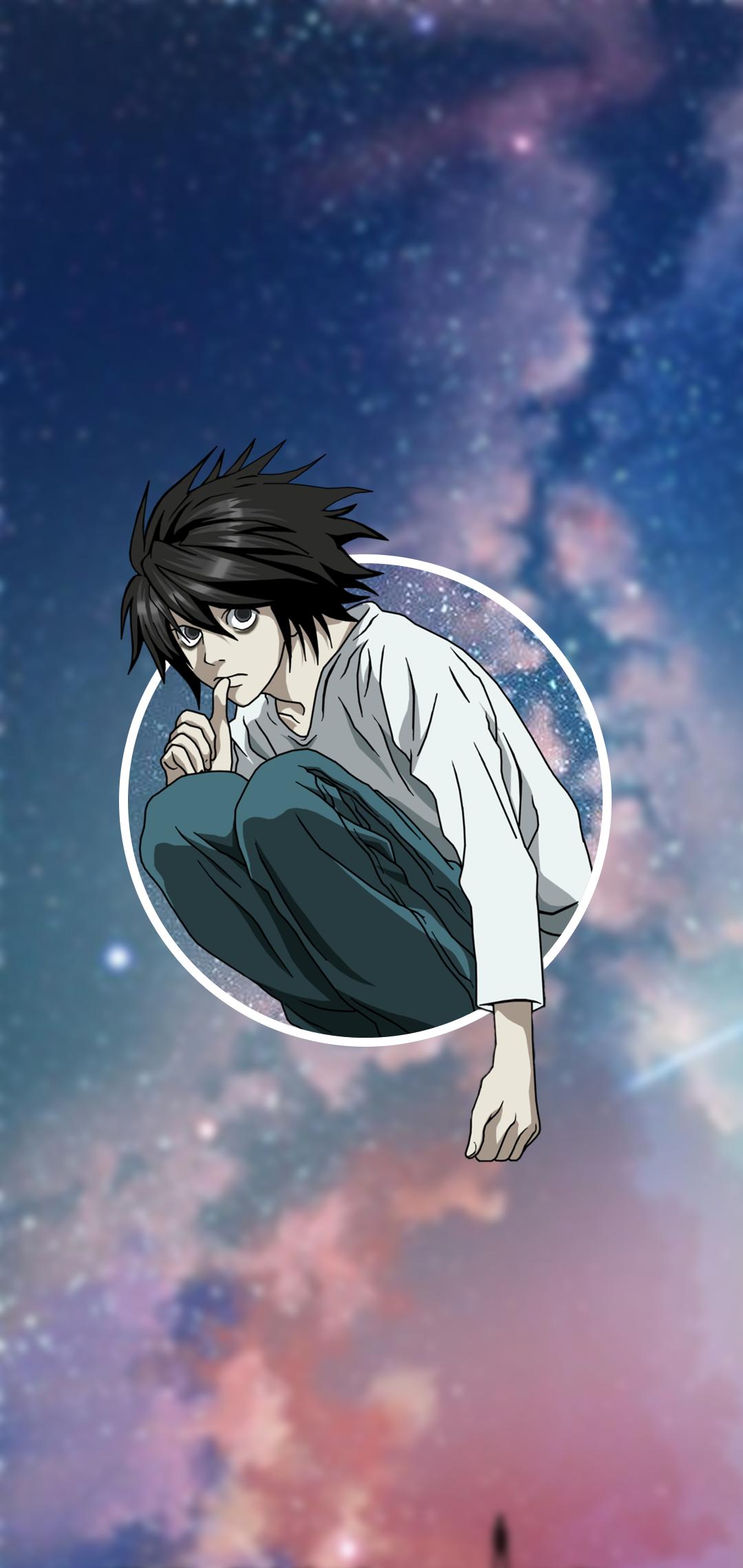 Anime 1080x2280 anime phone sky dark hair Death Note Lawliet L