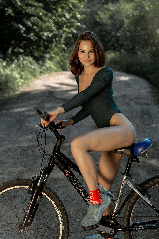 People 3840x5760 women women outdoors bicycle vehicle smiling Diana Jam leotard