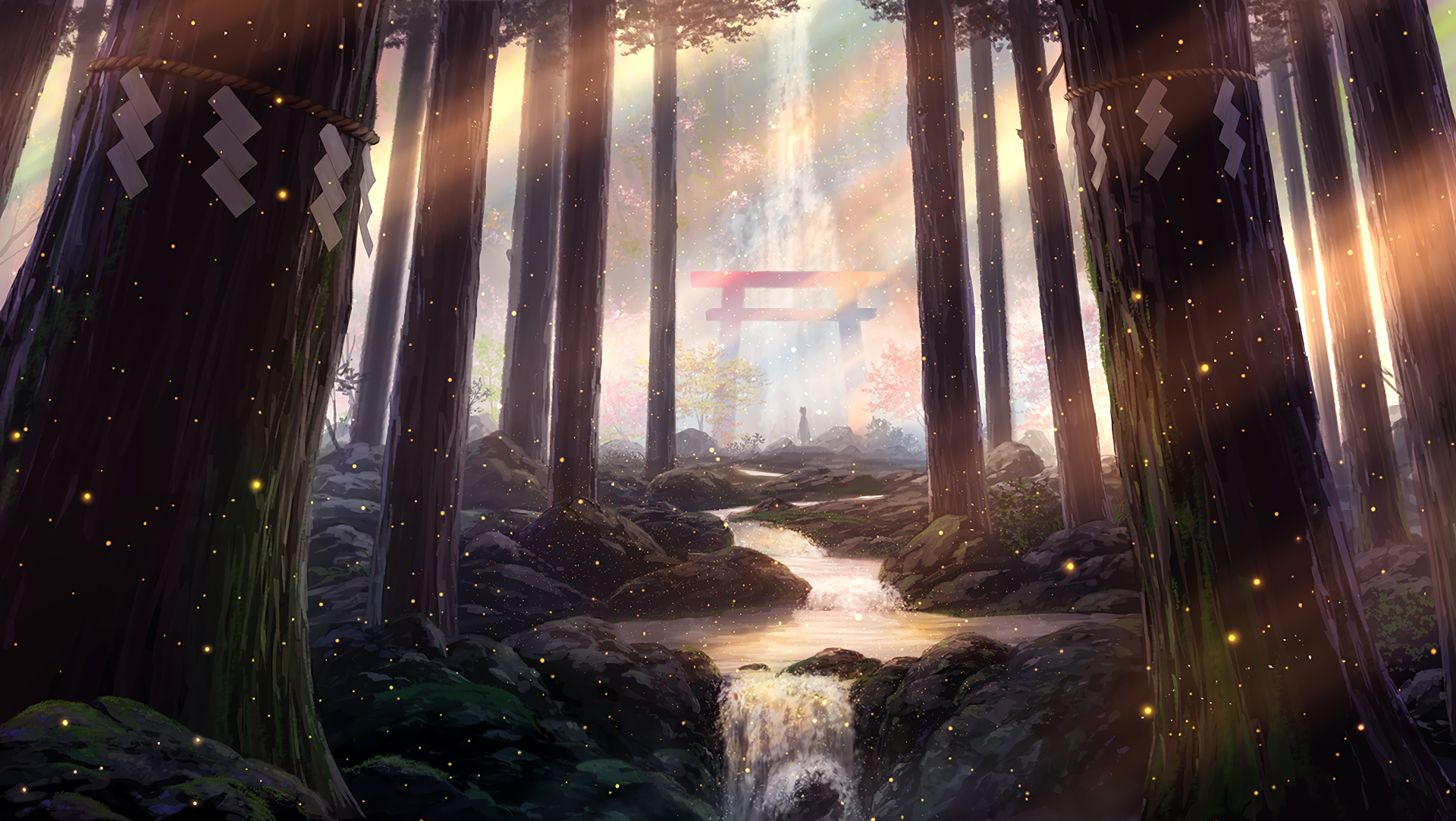 General 1920x1082 digital art artwork forest trees landscape shrine sunset fantasy art torii sun rays stream stones nature