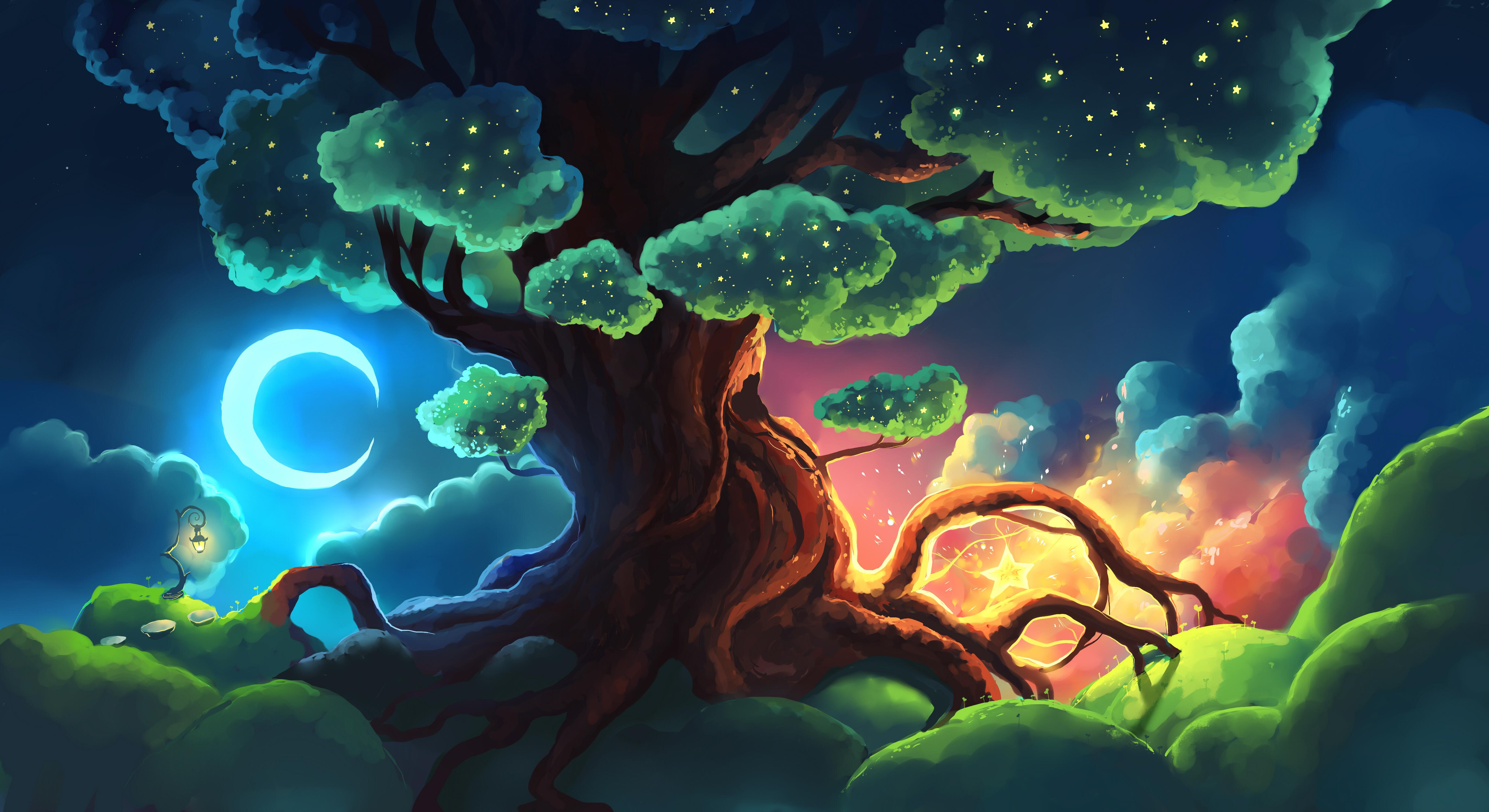 General 5500x3000 digital art artwork fantasy art digital painting trees nature lights clouds crescent moon Moon moon rays roots lamp landscape magic leaves shining shiny plants lantern Chibionpu