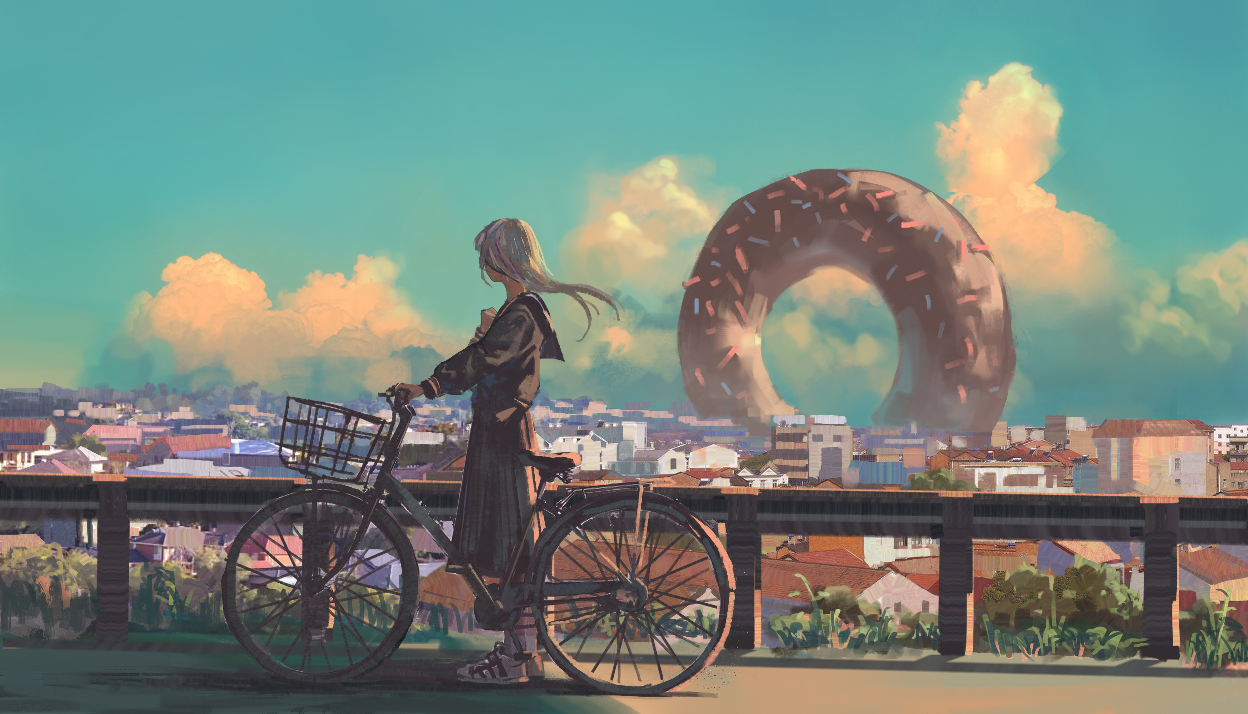 Anime 4094x2344 anime anime girls bicycle donut cityscape vehicle outdoors