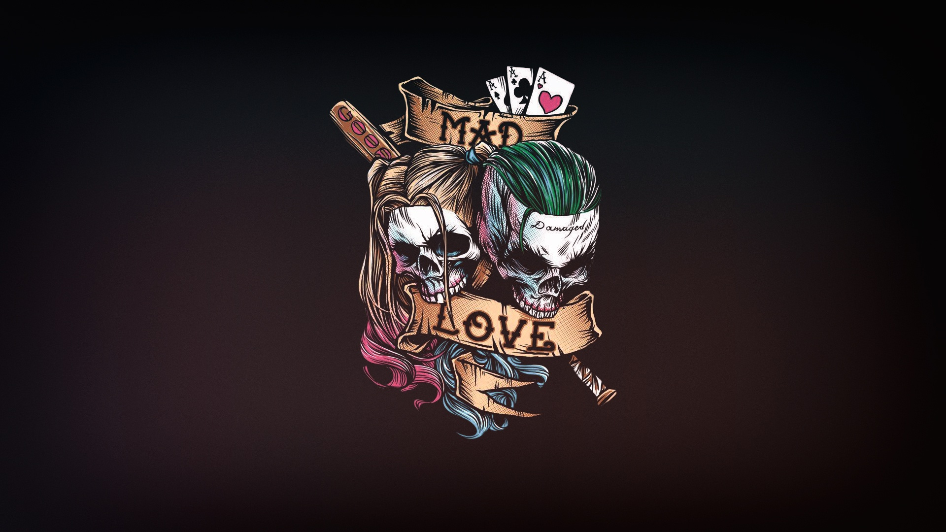 General 1920x1080 love artwork simple background skull bones Joker Harley Quinn