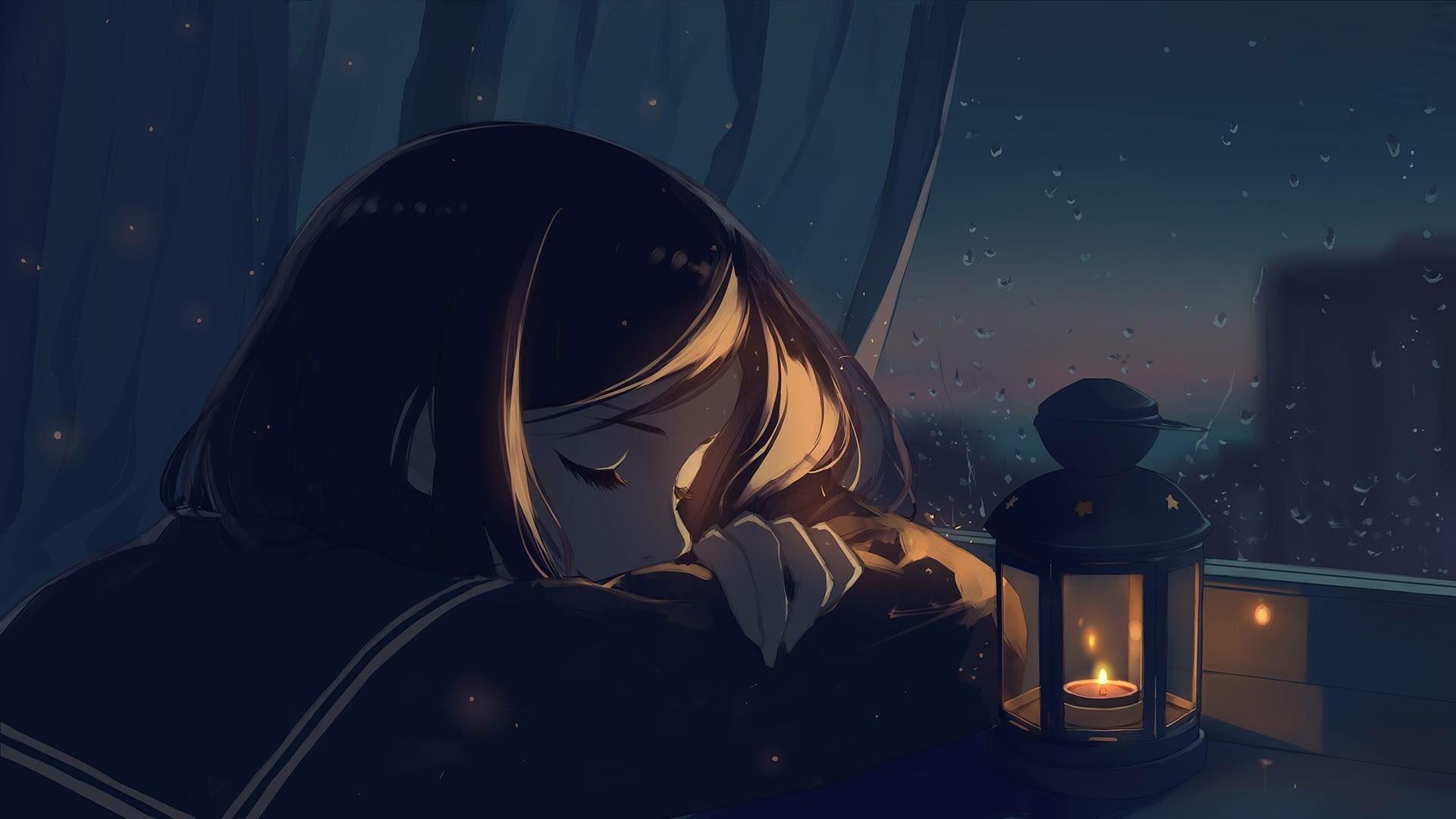 Anime 1920x1080 closed eyes sleeping window night