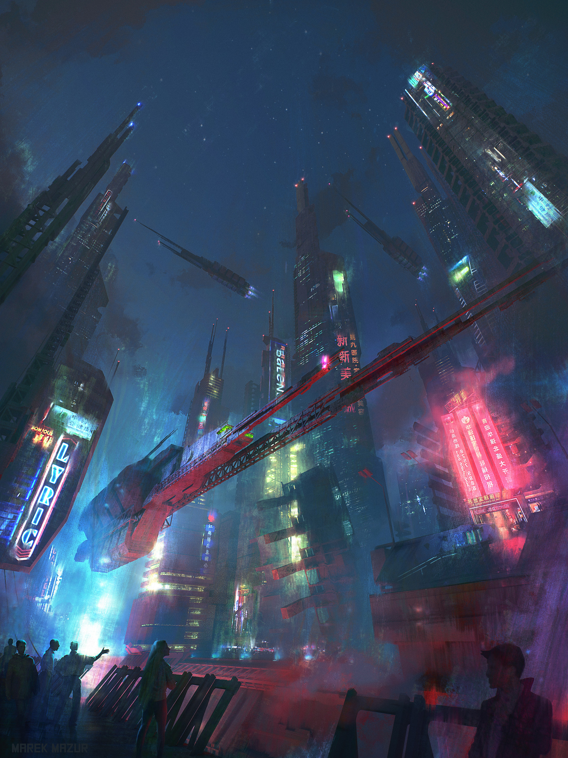 General 1920x2560 cyberpunk Marek Mazur digital city futuristic concept art neon science fiction