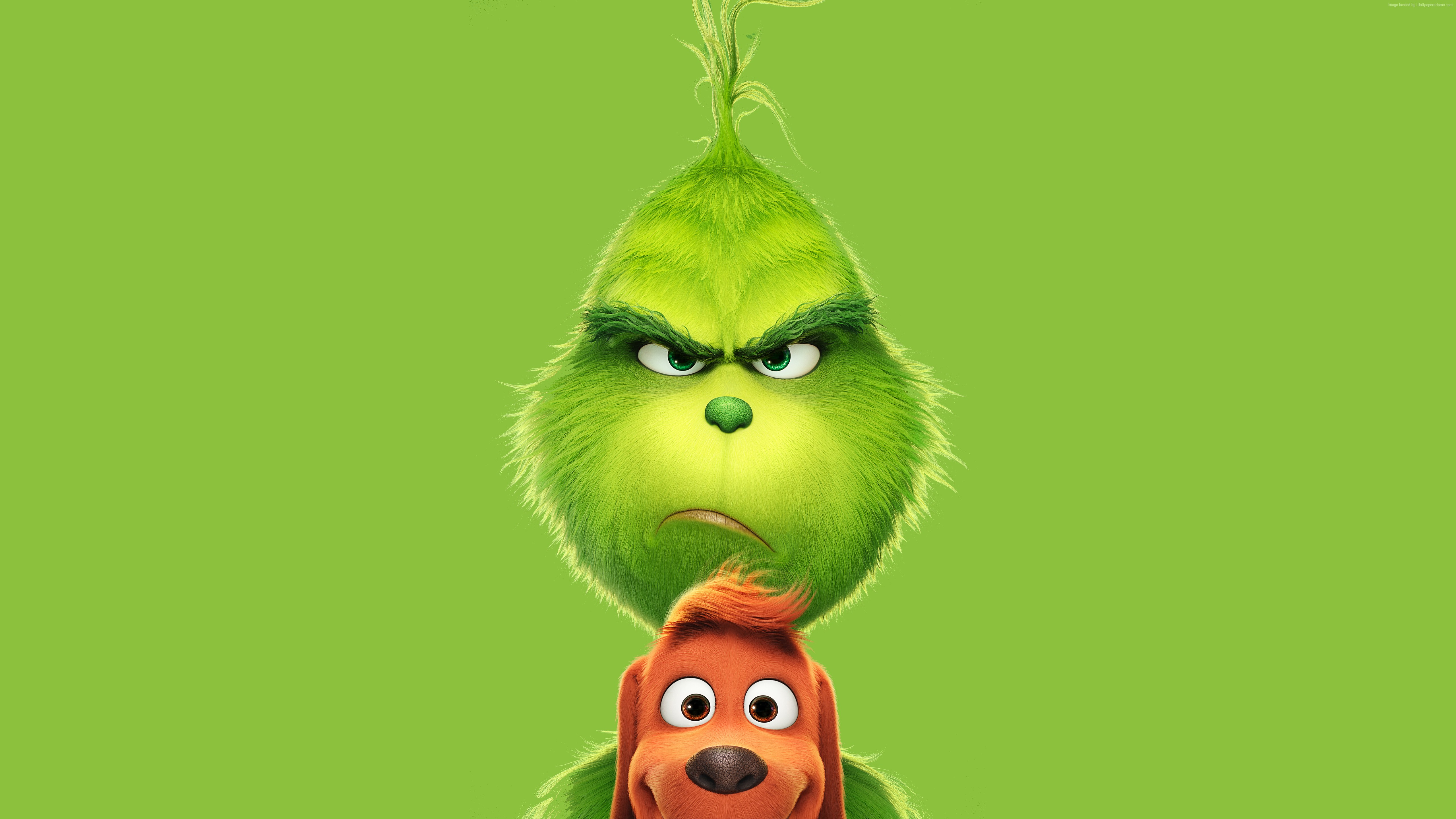 General 5120x2880 green movies animated movies green background The Grinch (2018)