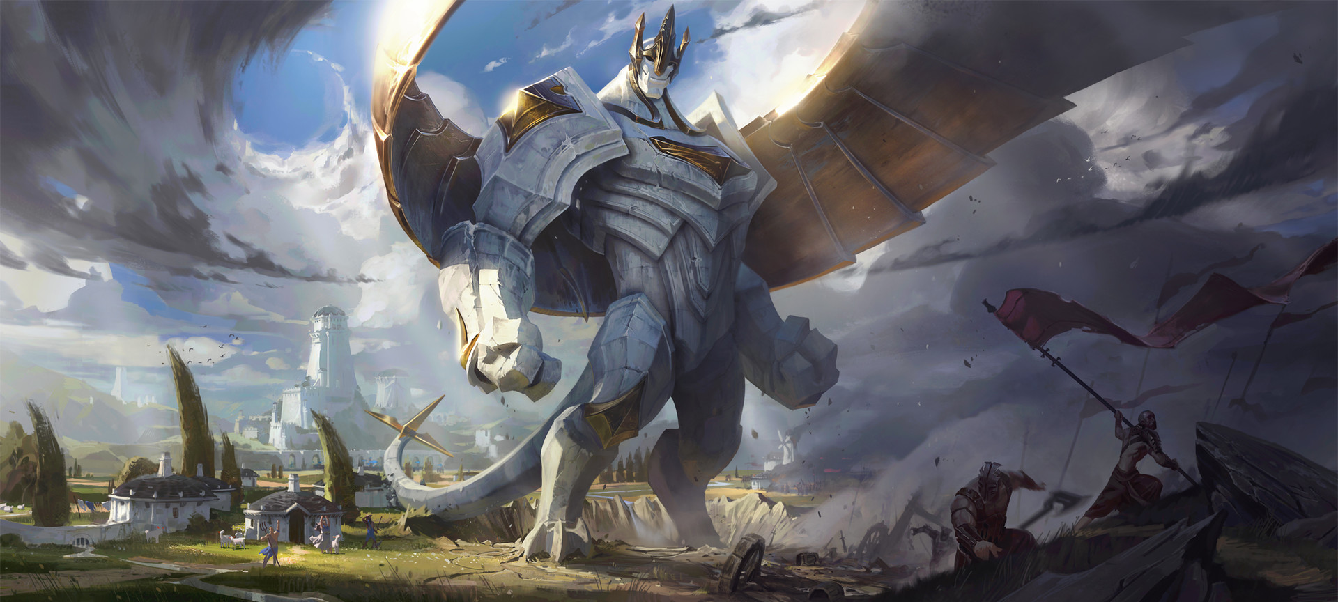 General 1920x864 giant digital art hero city war sky wings armor Victor Maury League of Legends Galio