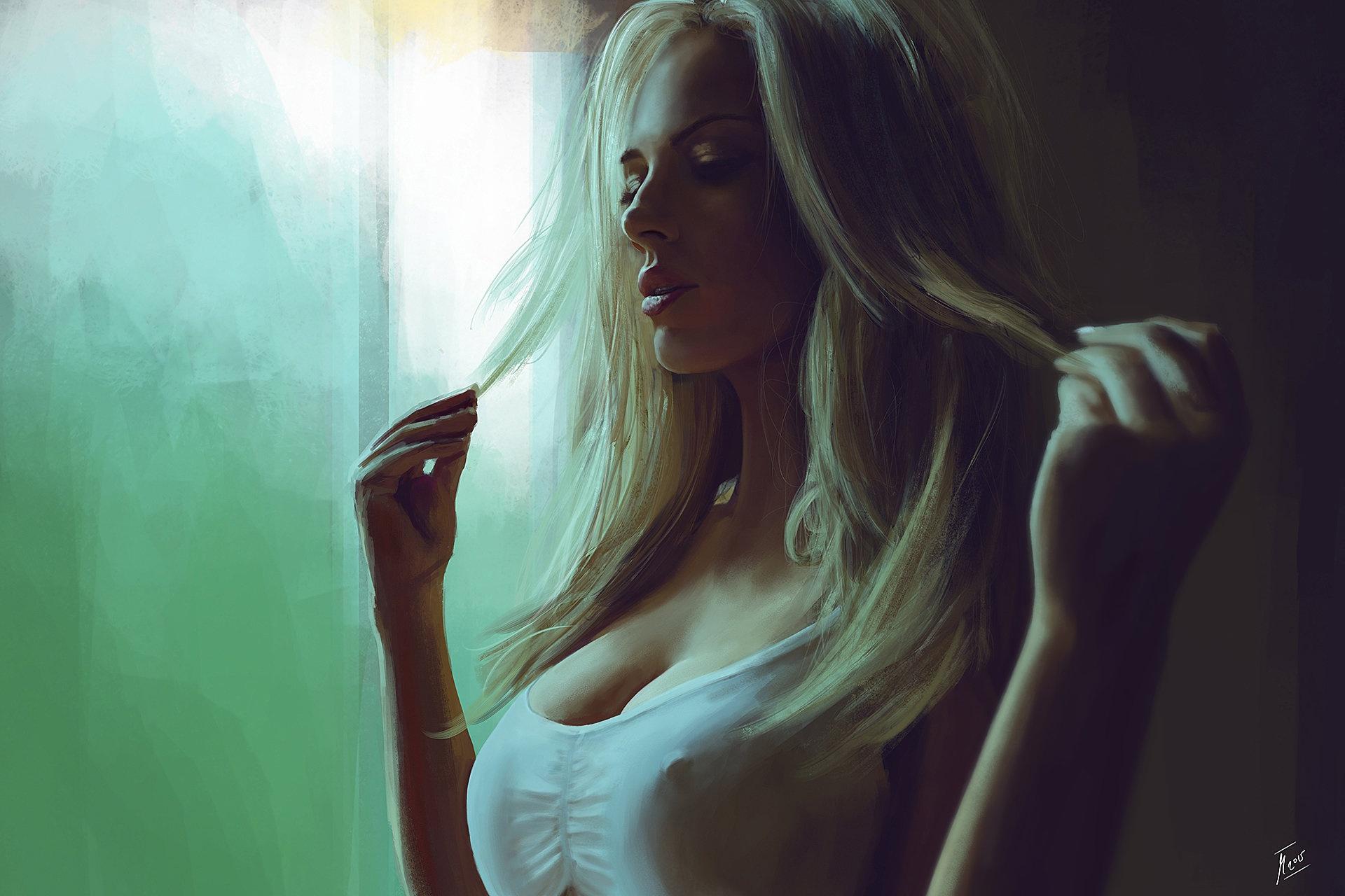 General 1920x1280 Ancilla Tilia women model women indoors artwork blonde boobs big boobs nipples nipples through clothing hair pulling