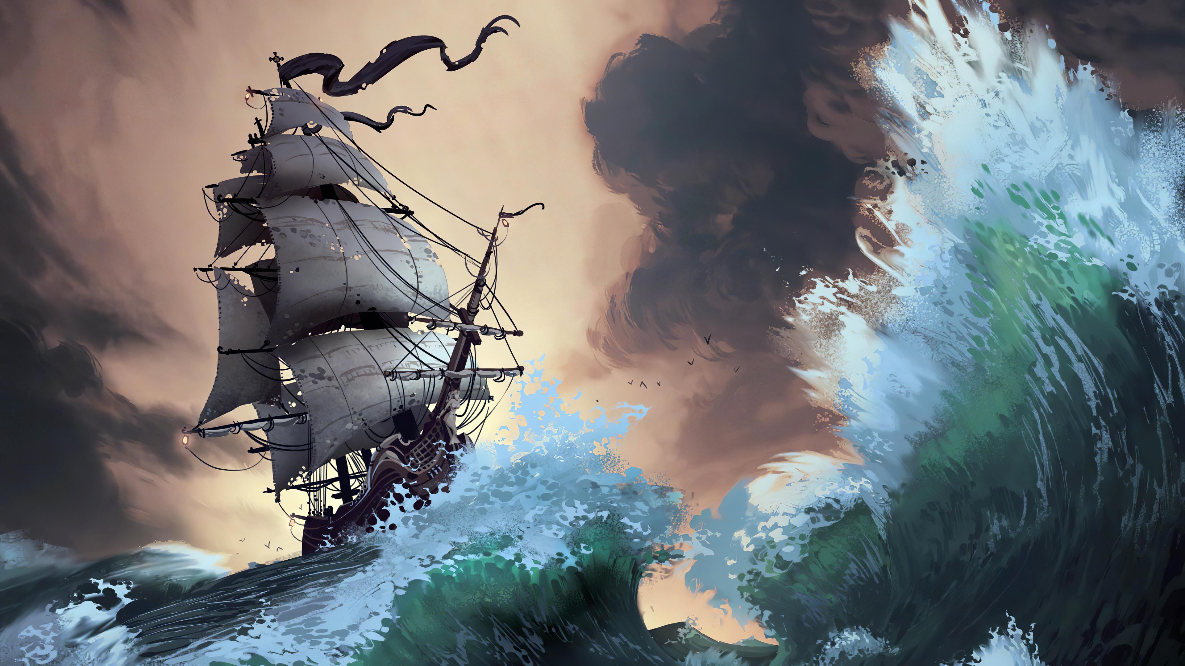 General 3840x2160 Lorenzo Lanfranconi artwork digital art ship storm waves Pirate ship