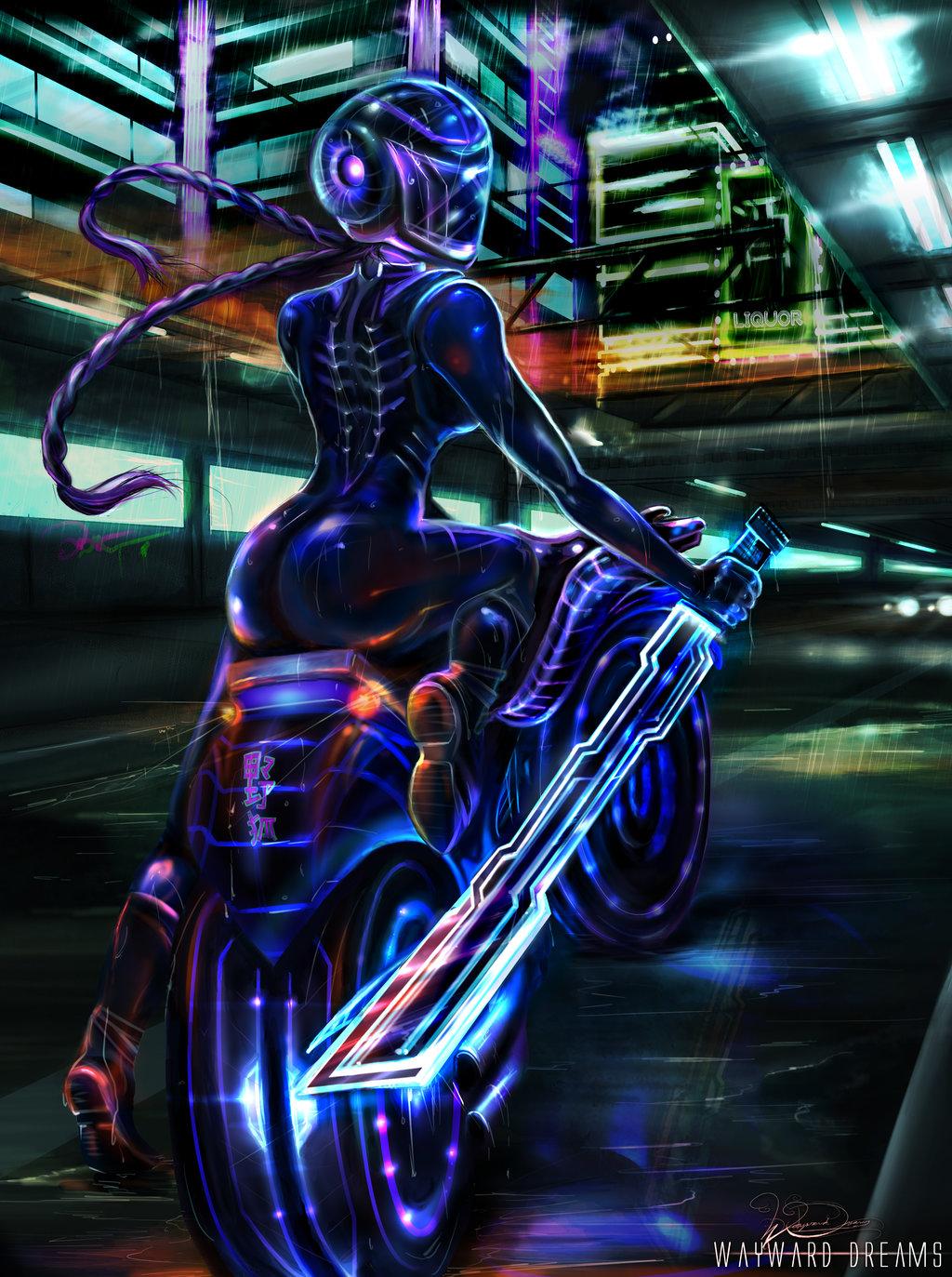 General 1024x1373 Sarah Turner drawing women helmet long hair braids boots weapon sword motorcycle glowing neon glow cyberpunk rain night