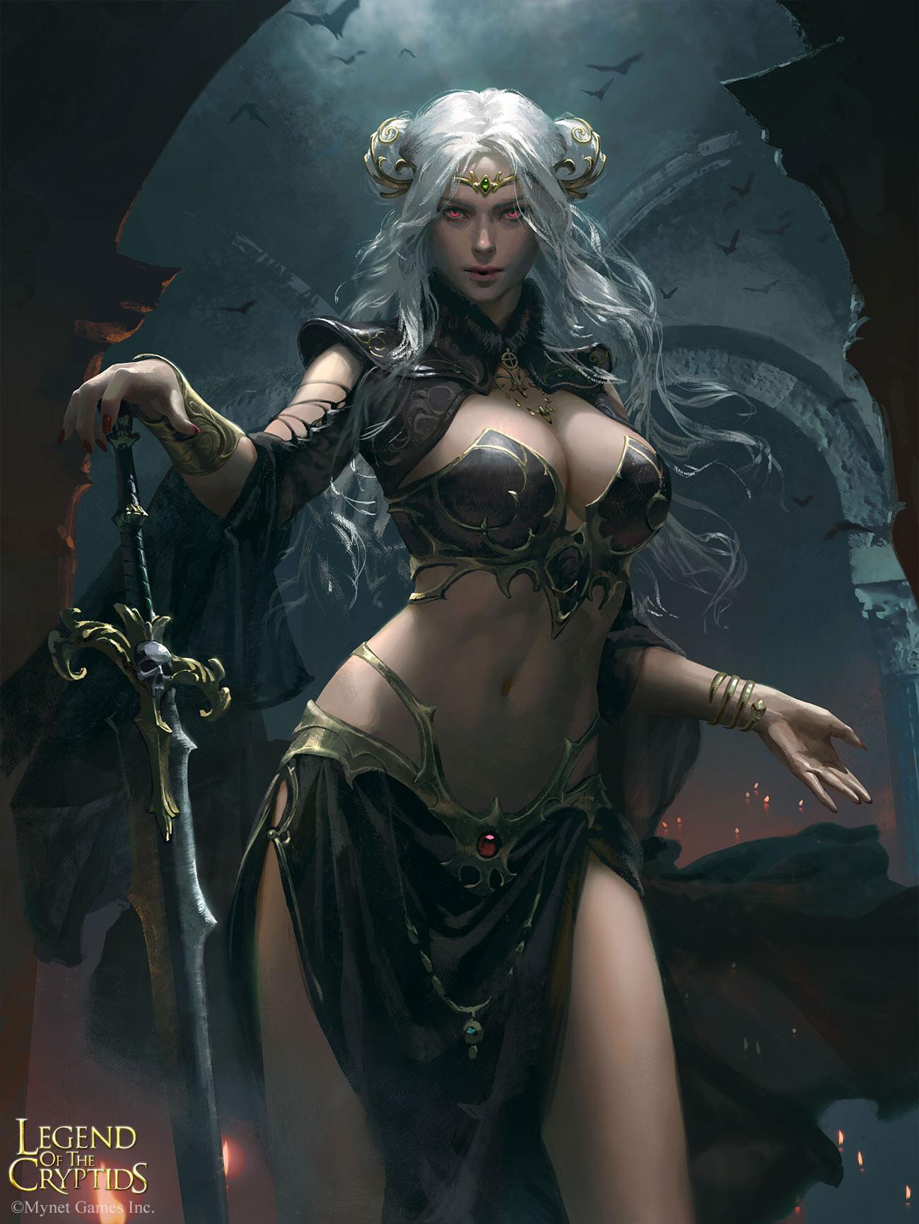 General 1300x1732 artwork fantasy girl Legend of the Cryptids white hair red eyes boobs belly women sword girls with swords fantasy art bikini armor