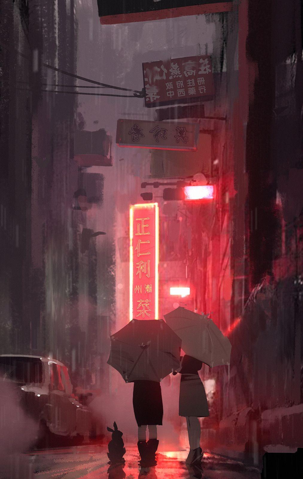 Anime 1013x1600 anime girls neon rain night umbrella snatti89 Atey Ghailan