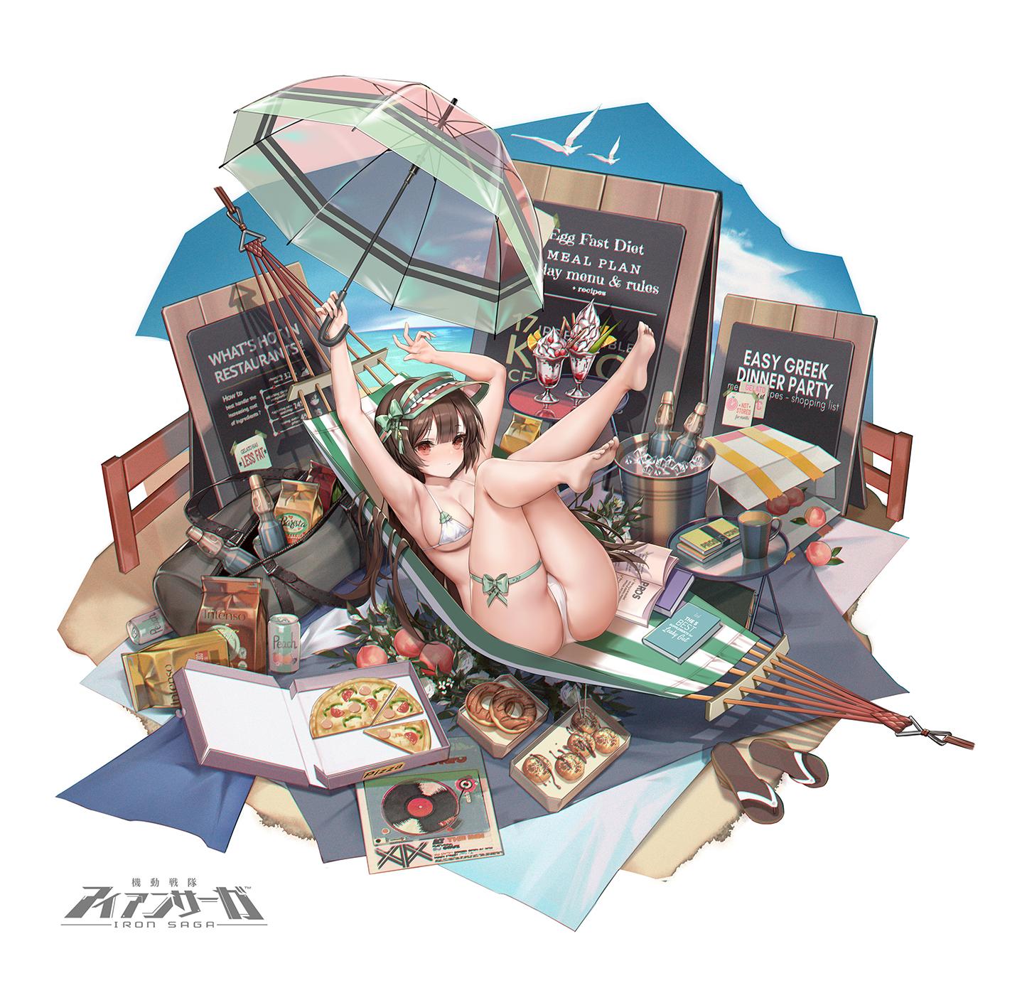 Anime 1445x1390 anime anime girls digital art artwork 2D portrait iron saga zjsstc bikini legs up ass D. (artist)