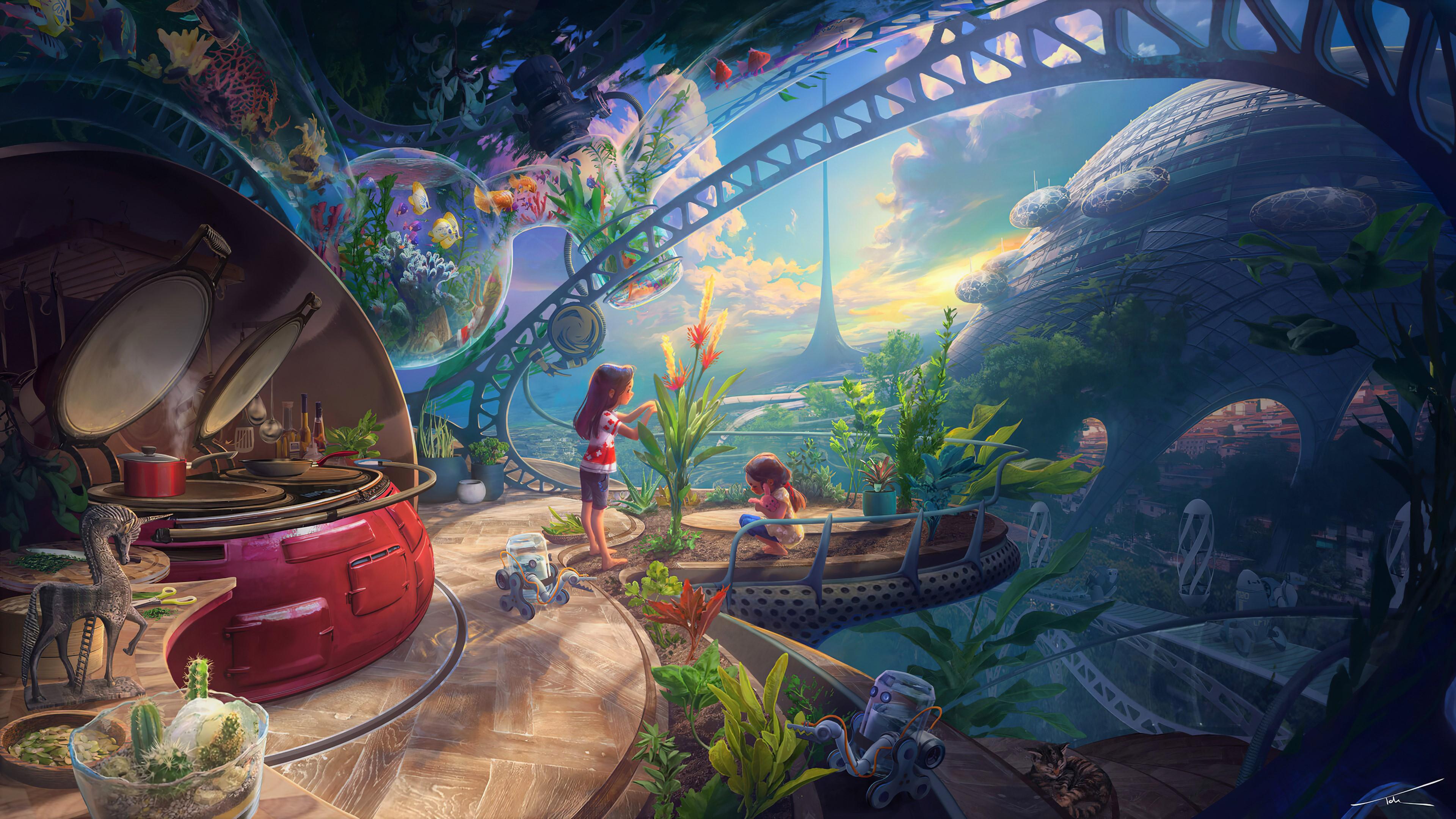 General 3840x2160 Thomas Chamberlain - Keen colorful fantasy art futuristic city