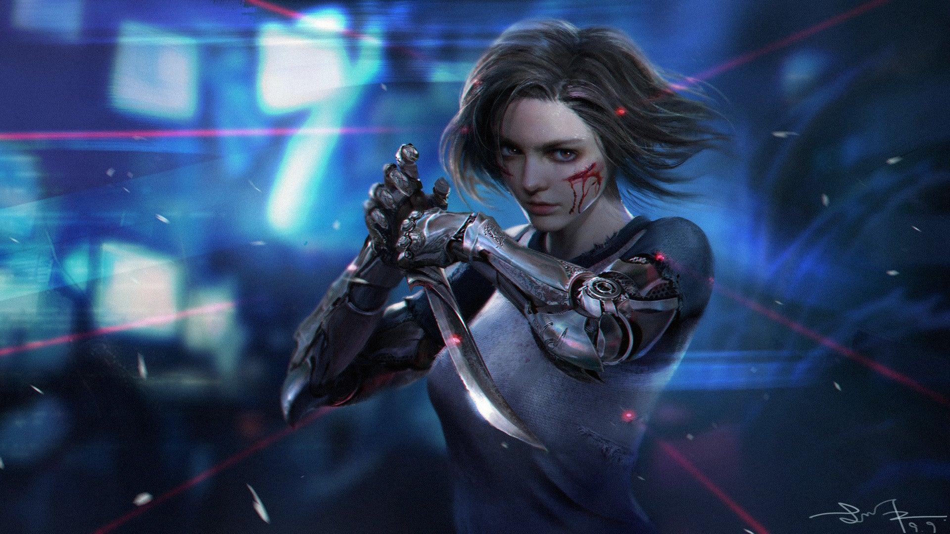 General 1920x1080 artwork digital art fantasy art Alita Alita: Battle Angel women dagger robot short hair blue