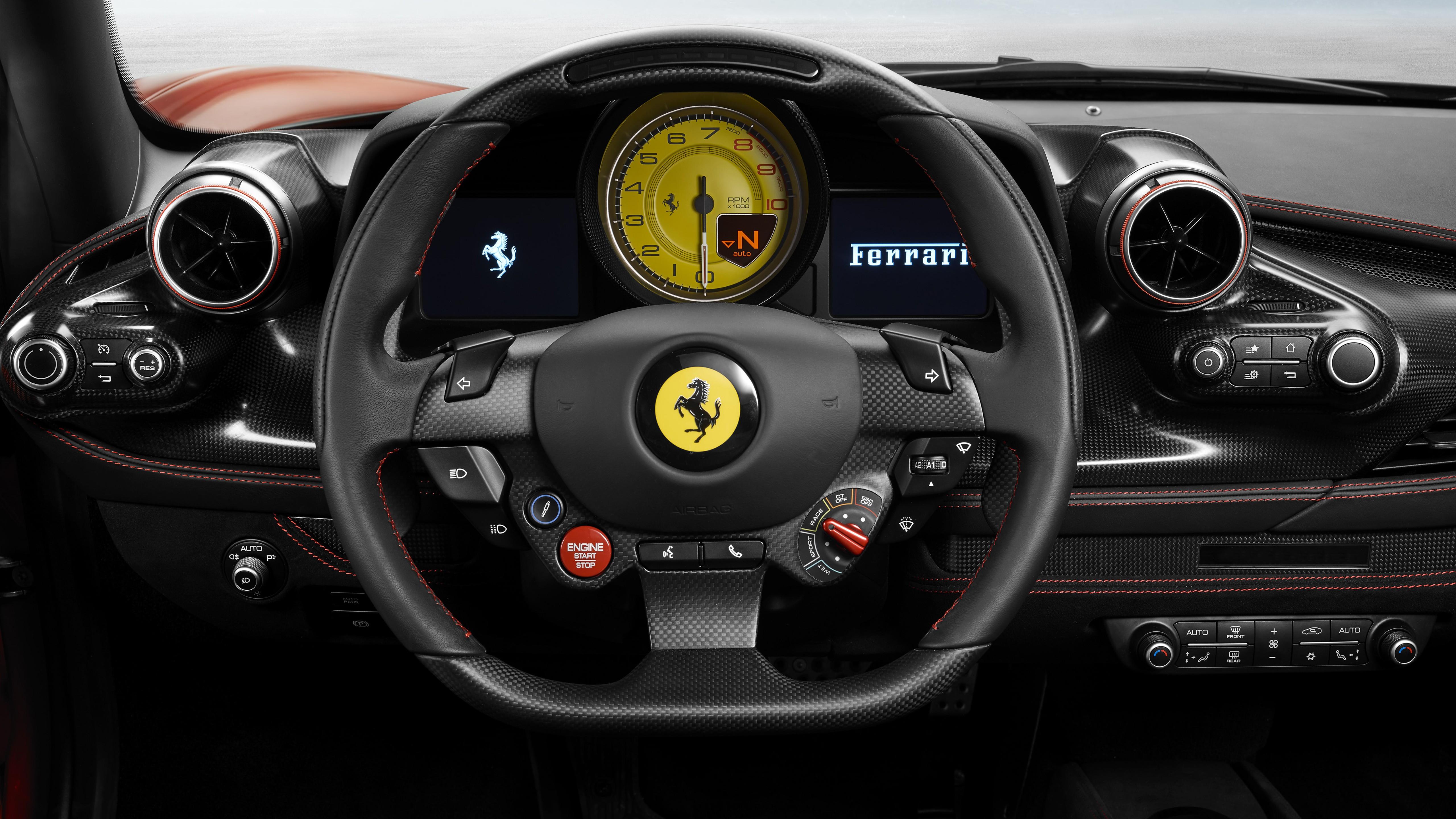 General 5120x2880 vehicle interiors Ferrari car car interior steering wheel numbers