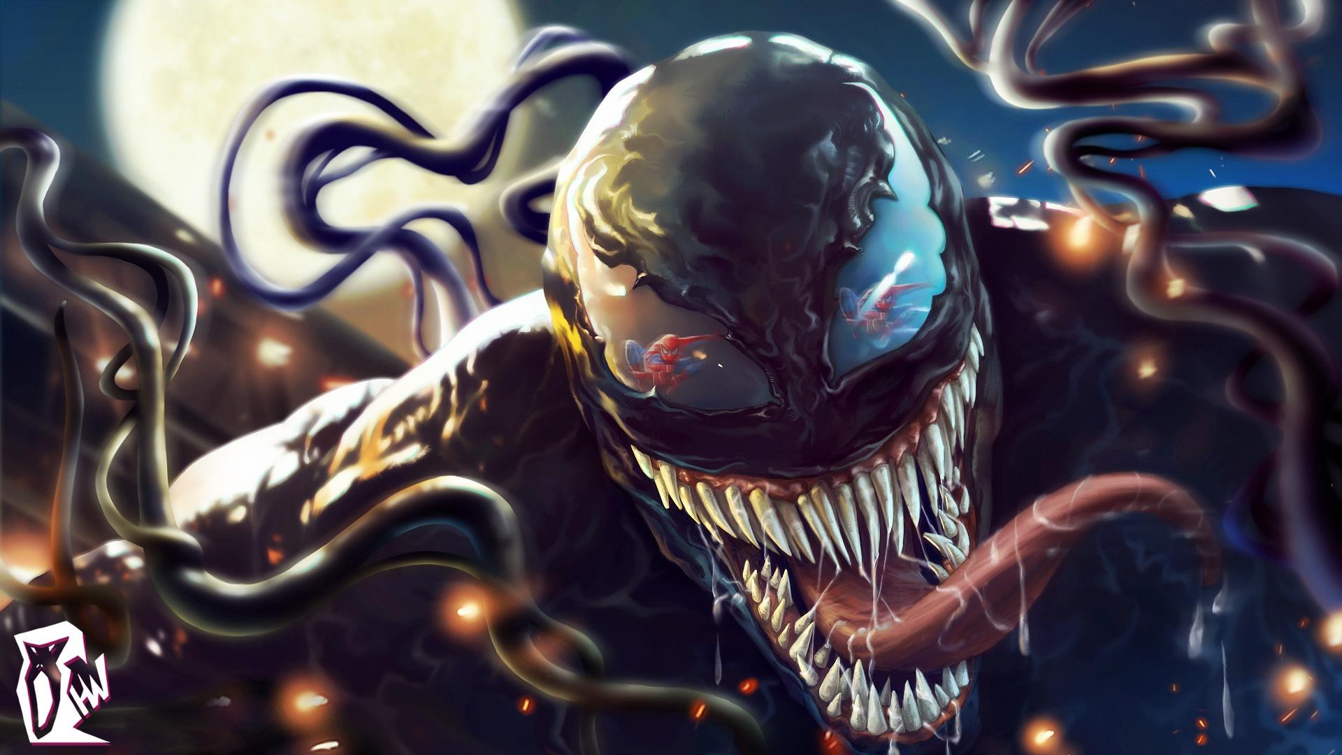 General 1920x1080 Venom digital art creature tongue out teeth