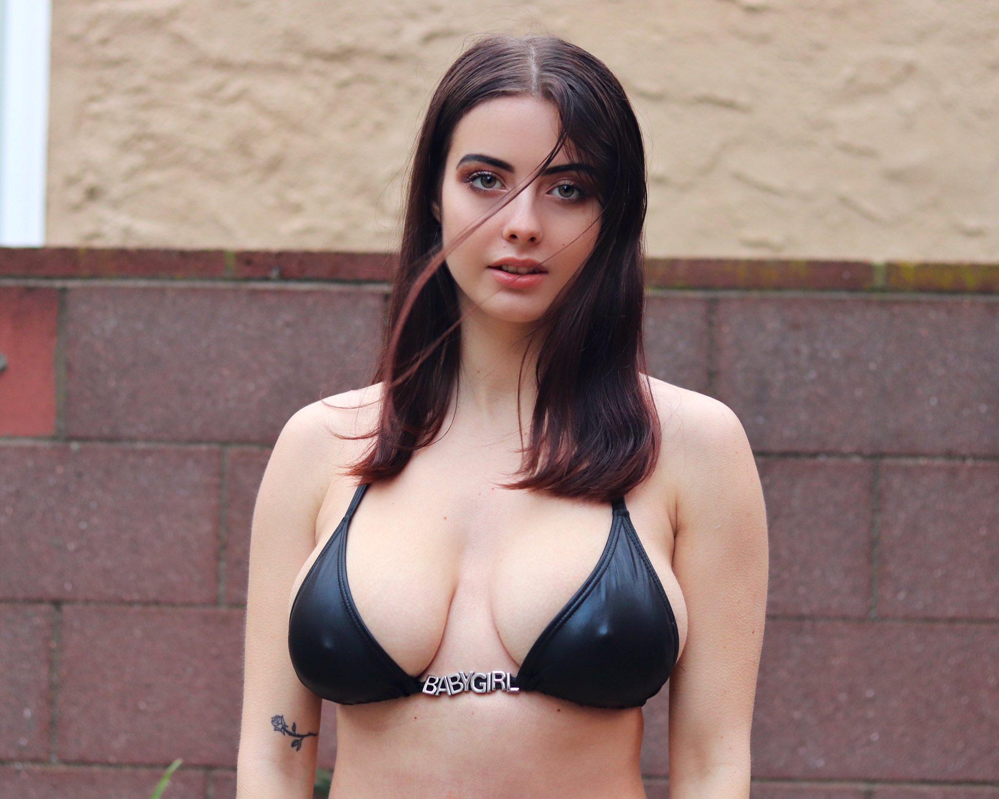People 2048x1638 Julia Burch model brunette looking at viewer bikini nipples through clothing big boobs tattoo frontal view Julia hair in face Canadian Women
