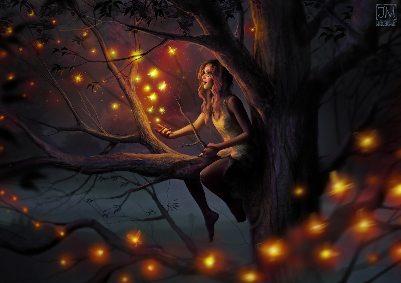 General 1403x992 artwork fantasy art fantasy girl women trees glasses women with glasses magic Jeremiah Morelli