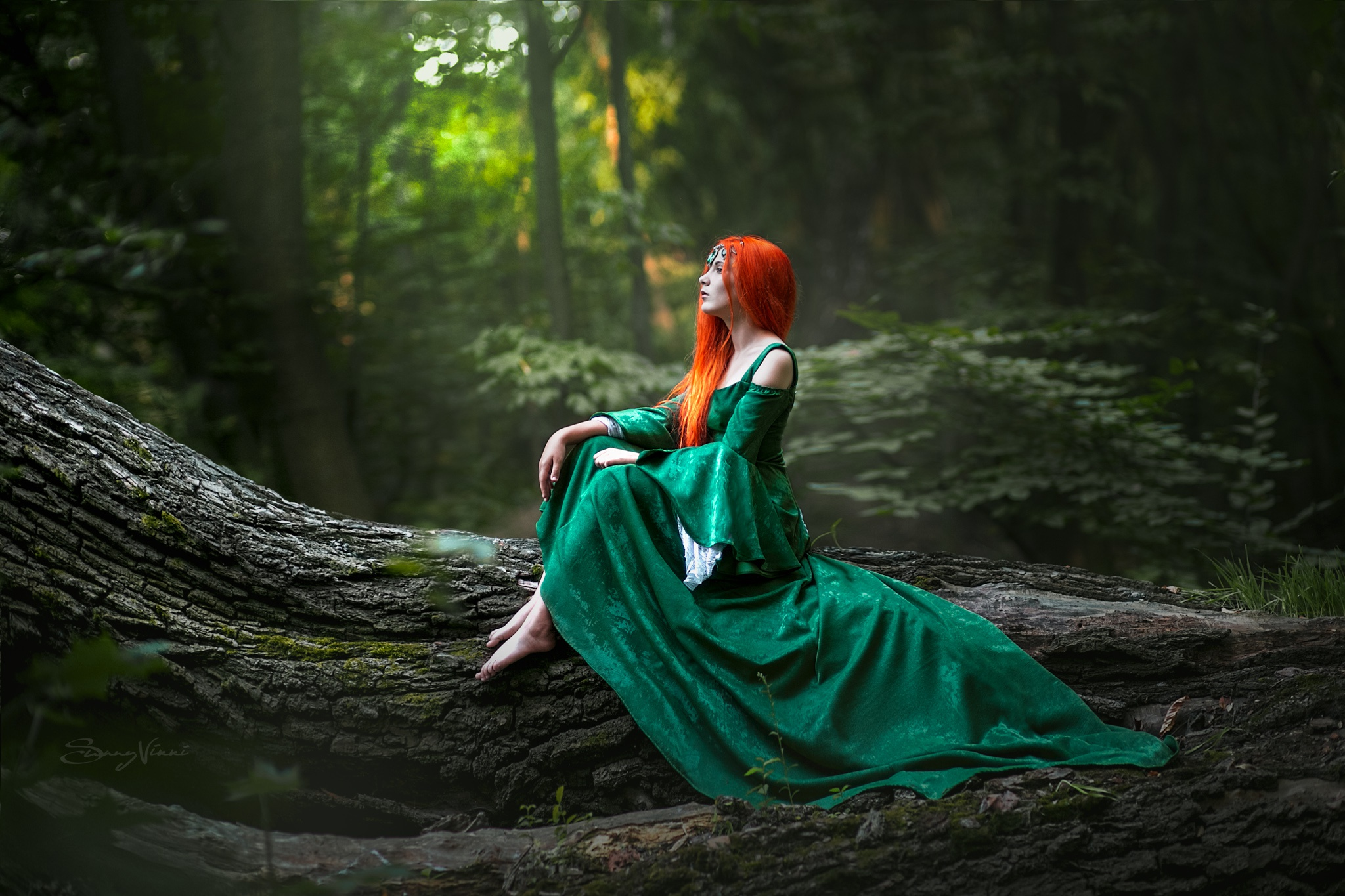 People 2048x1365 redhead trees women fantasy girl model women outdoors green clothing green dress barefoot