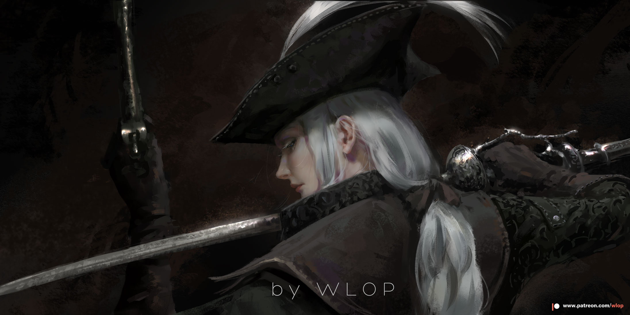 General 2192x1095 digital art women warrior weapon sword white hair hat fantasy girl WLOP Bloodborne Lady Maria