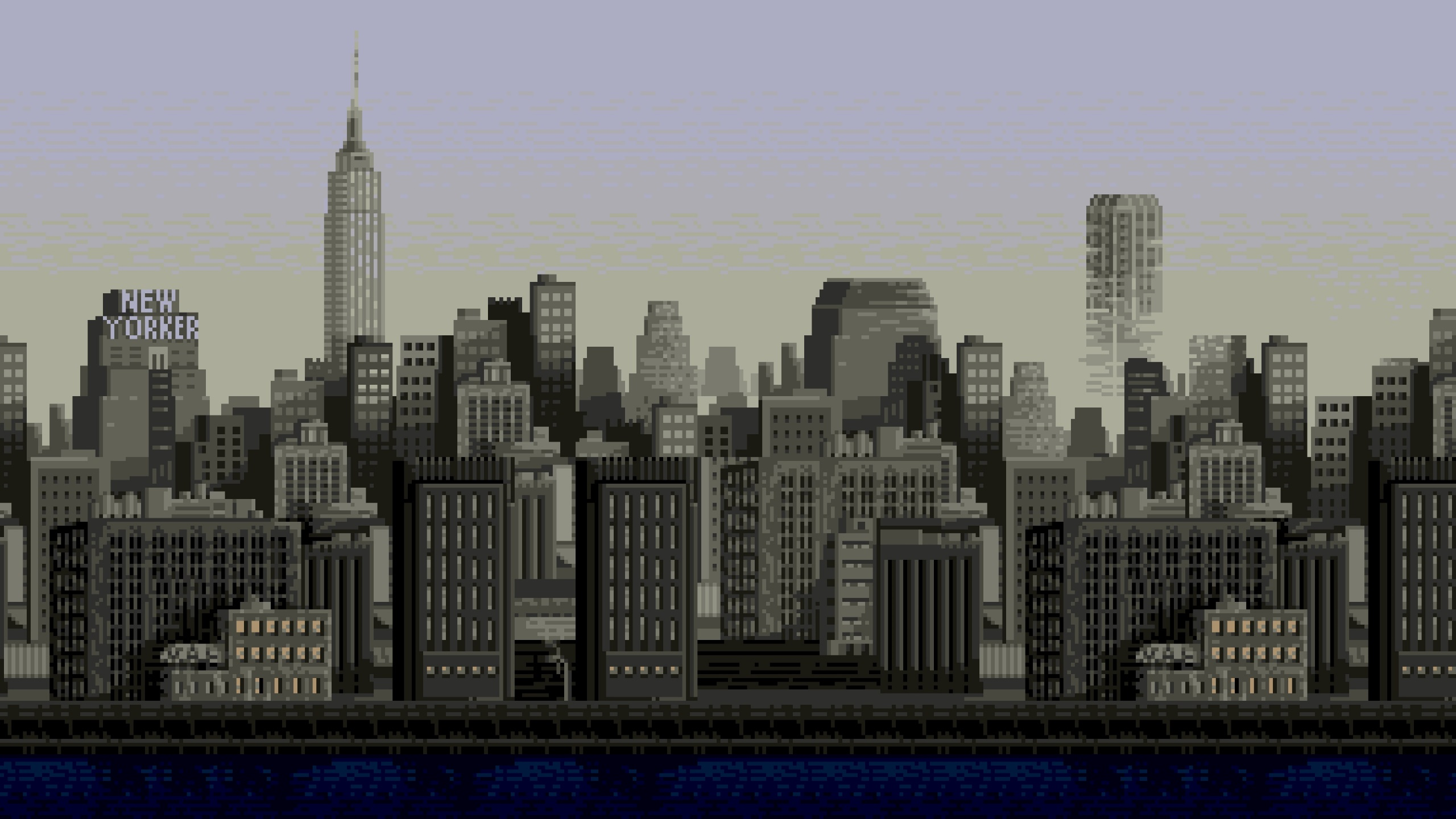 General 2560x1441 cityscape pixels 8-bit New York City pixel art building Empire State Building