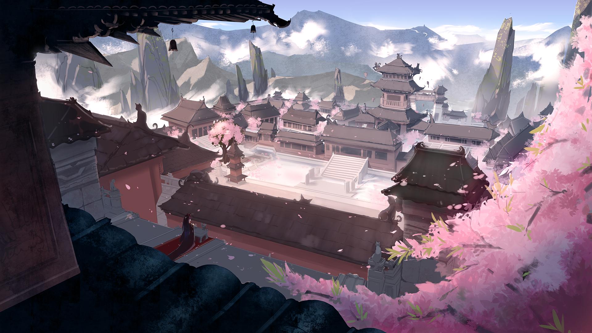 Anime 1920x1080 building flowers landscape fantasy art Asia anime futoshi ame