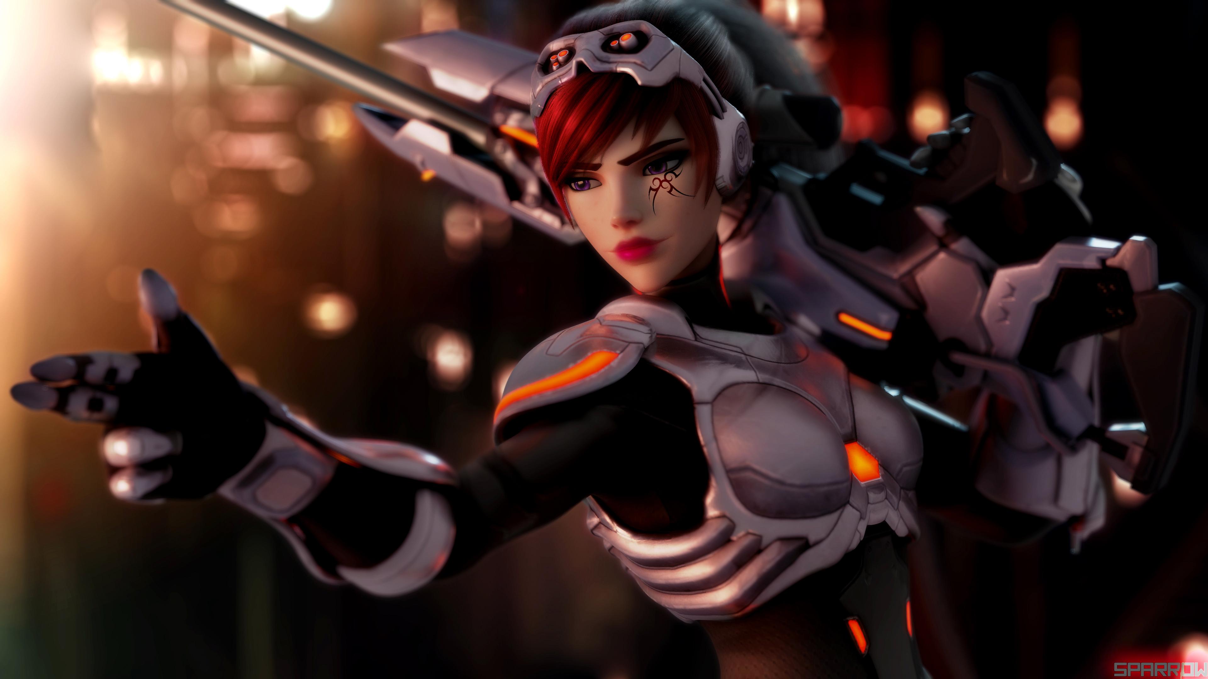 General 3840x2160 women weapon makeup widowmaker Overwatch video games Widowmaker (Overwatch)