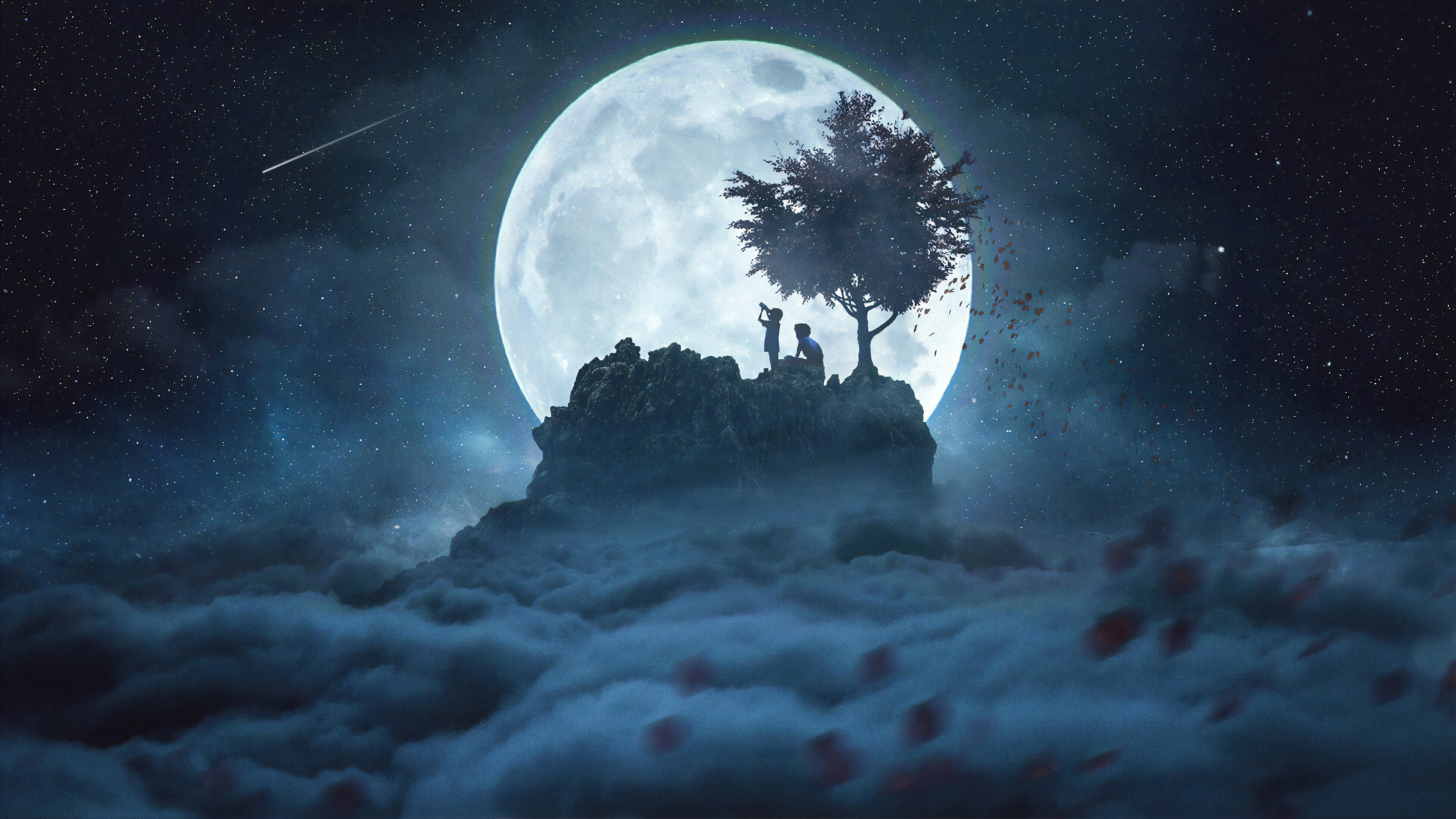 General 3840x2160 digital digital art artwork fantasy art concept art environment children people silhouette night stars starry night landscape sky skyscape Moon moon rays moonlight illustration Photoshop photomontage photo manipulation clouds comet astronomy trees shooting stars