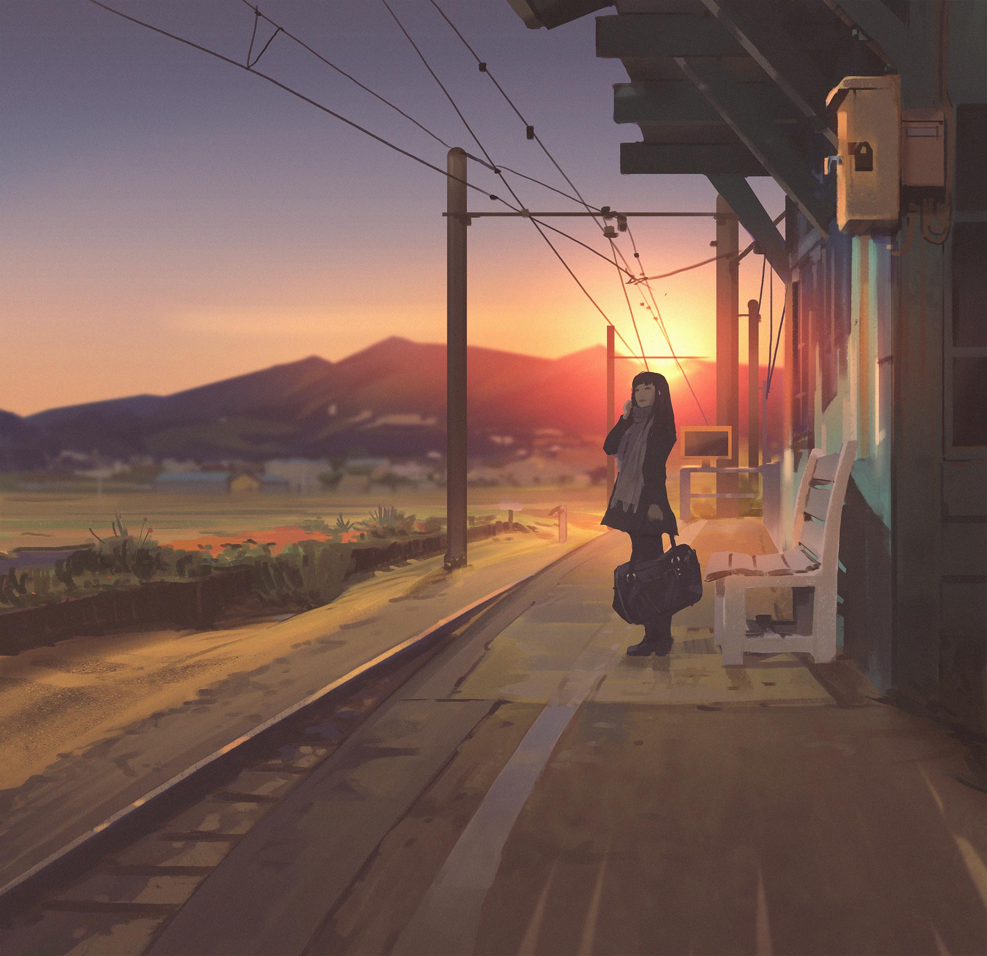 General 2000x1937 women looking away scarf outdoors train station mountains sky sunset depth of field artwork digital art digital painting illustration Atey Ghailan