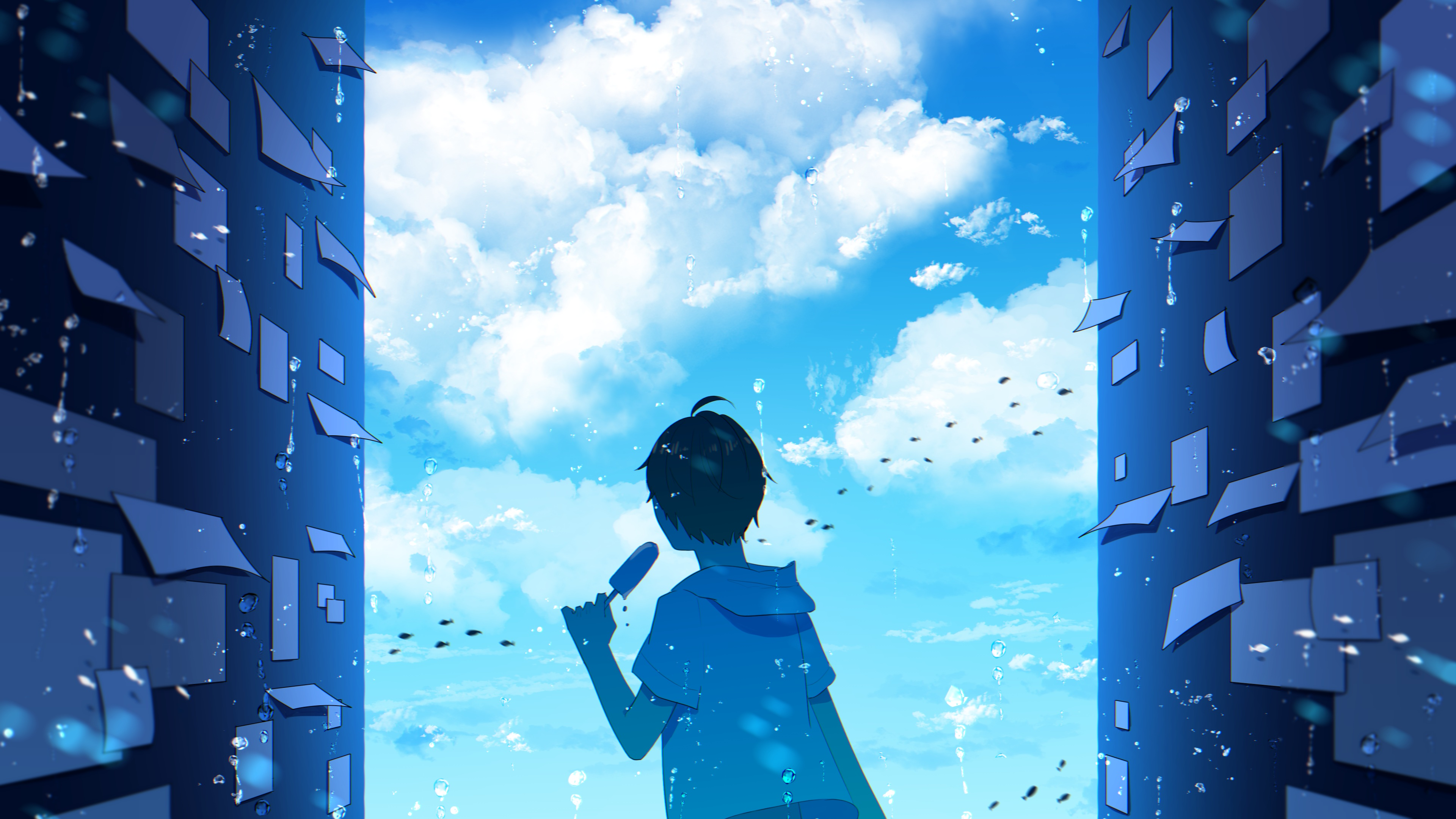 Anime 3840x2160 anime anime boys children people paper blue white sky skyscape clouds water ice cream horizon anime sky wall popsicle fish animals underwater fantasy art artwork outdoors landscape sea atmosphere environment concept art cyan