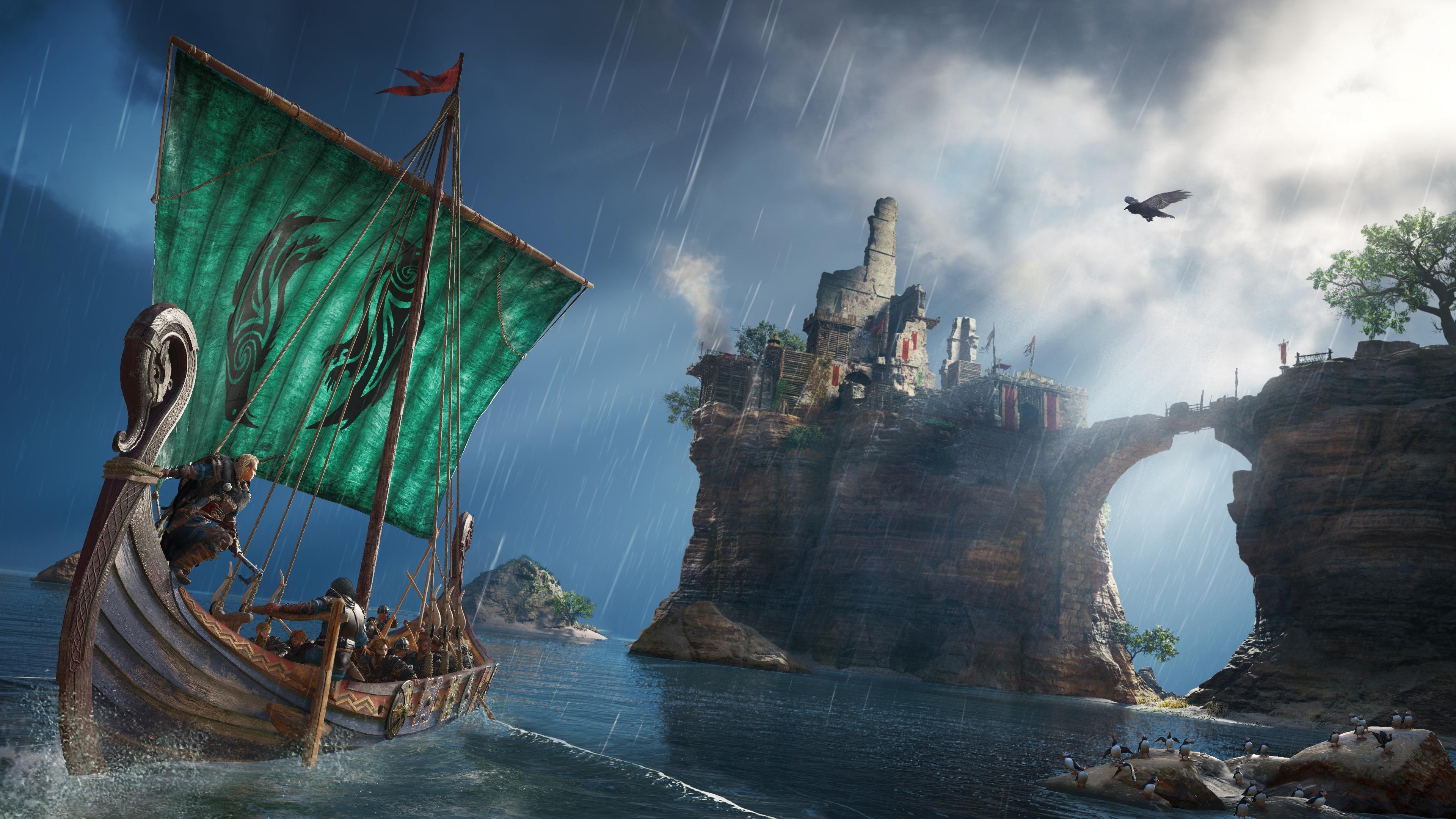 General 3840x2160 Assassin's Creed: Valhalla video games video game art digital art viking Axe boat raven