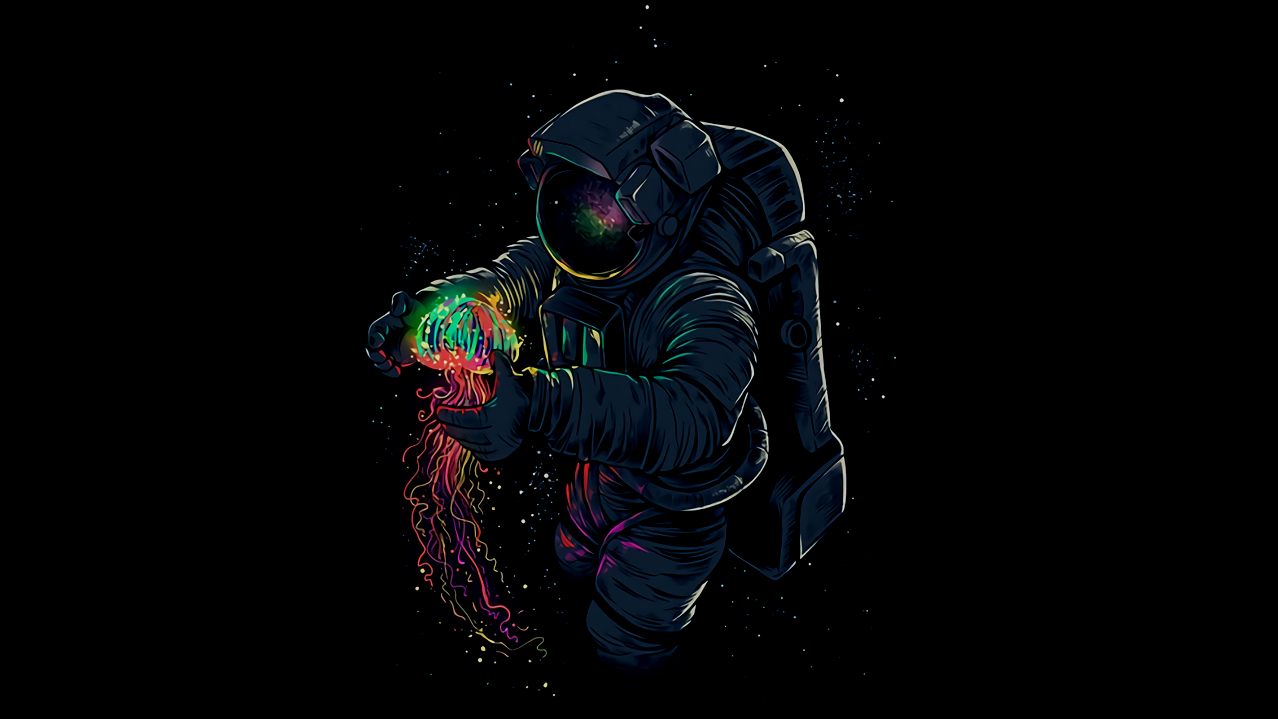 General 2560x1440 space astronaut artwork jellyfish