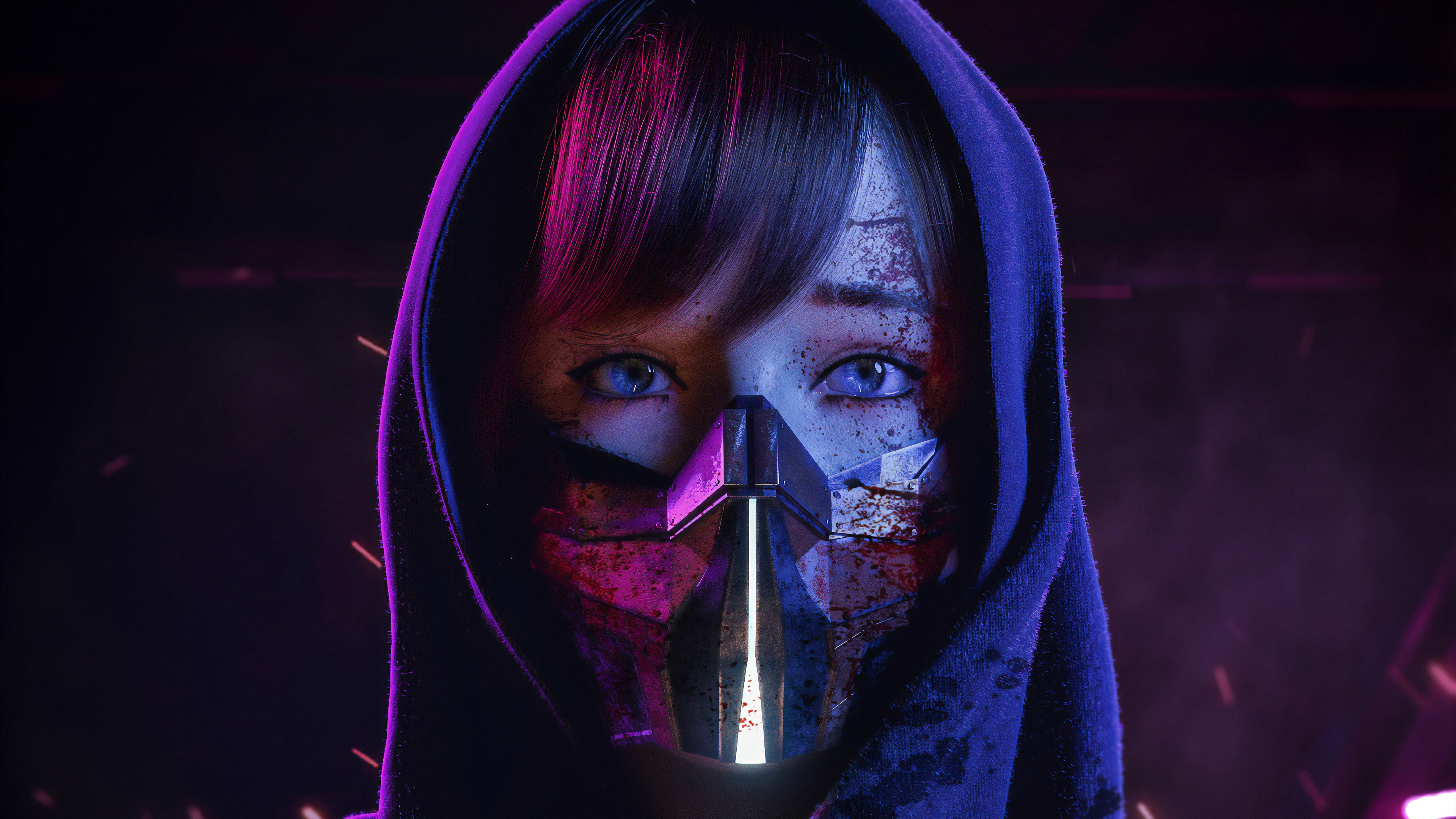 General 3840x2160 digital art artwork cyber cyberpunk neon lights neon lights mask women blue eyes fantasy girl science fiction concept art 3D futuristic digital people