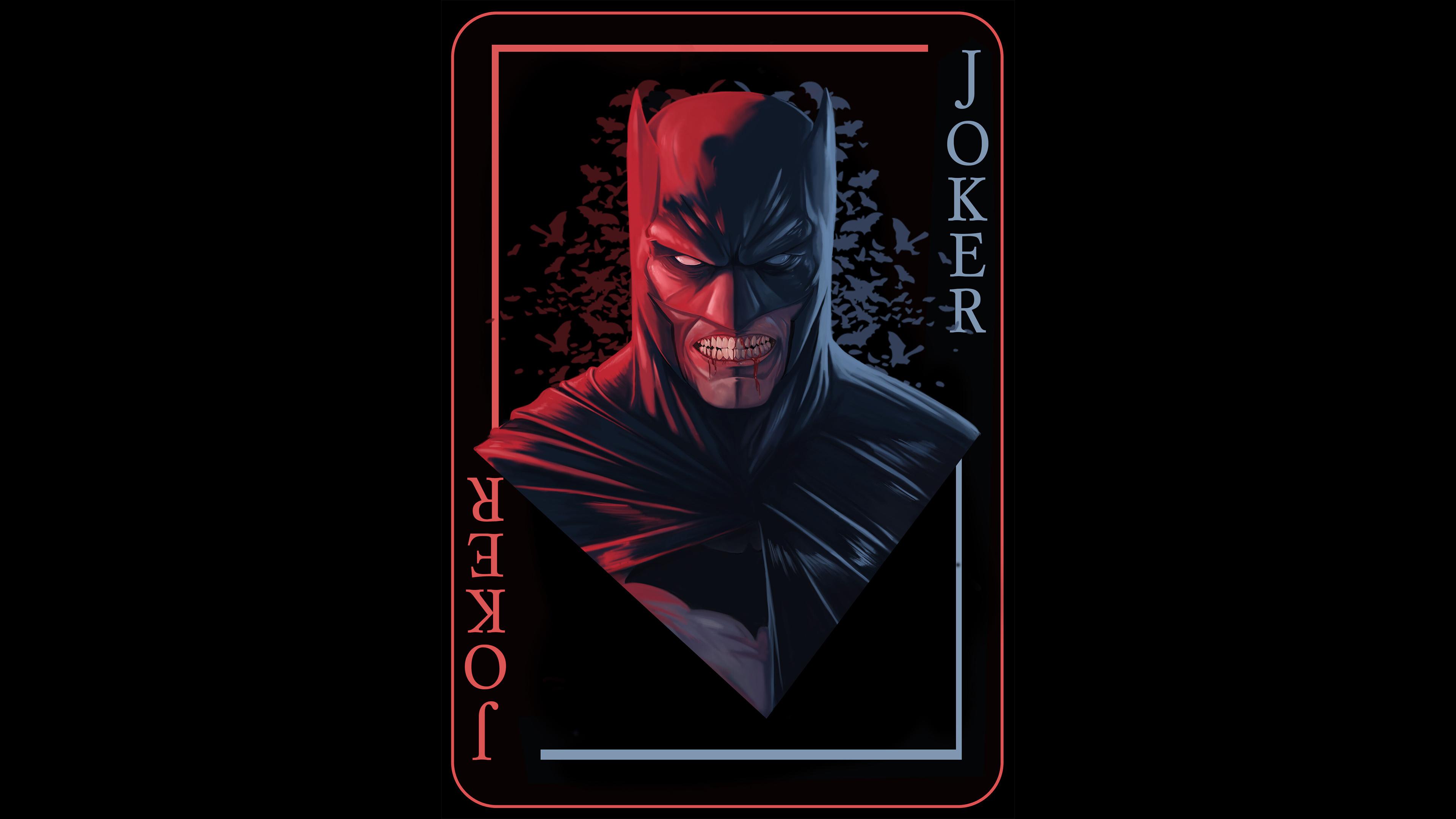 General 3840x2160 digital digital art artwork Batman black red dark black background lights Joker simple background fictional character Bruce Wayne DC Comics DC Universe superhero