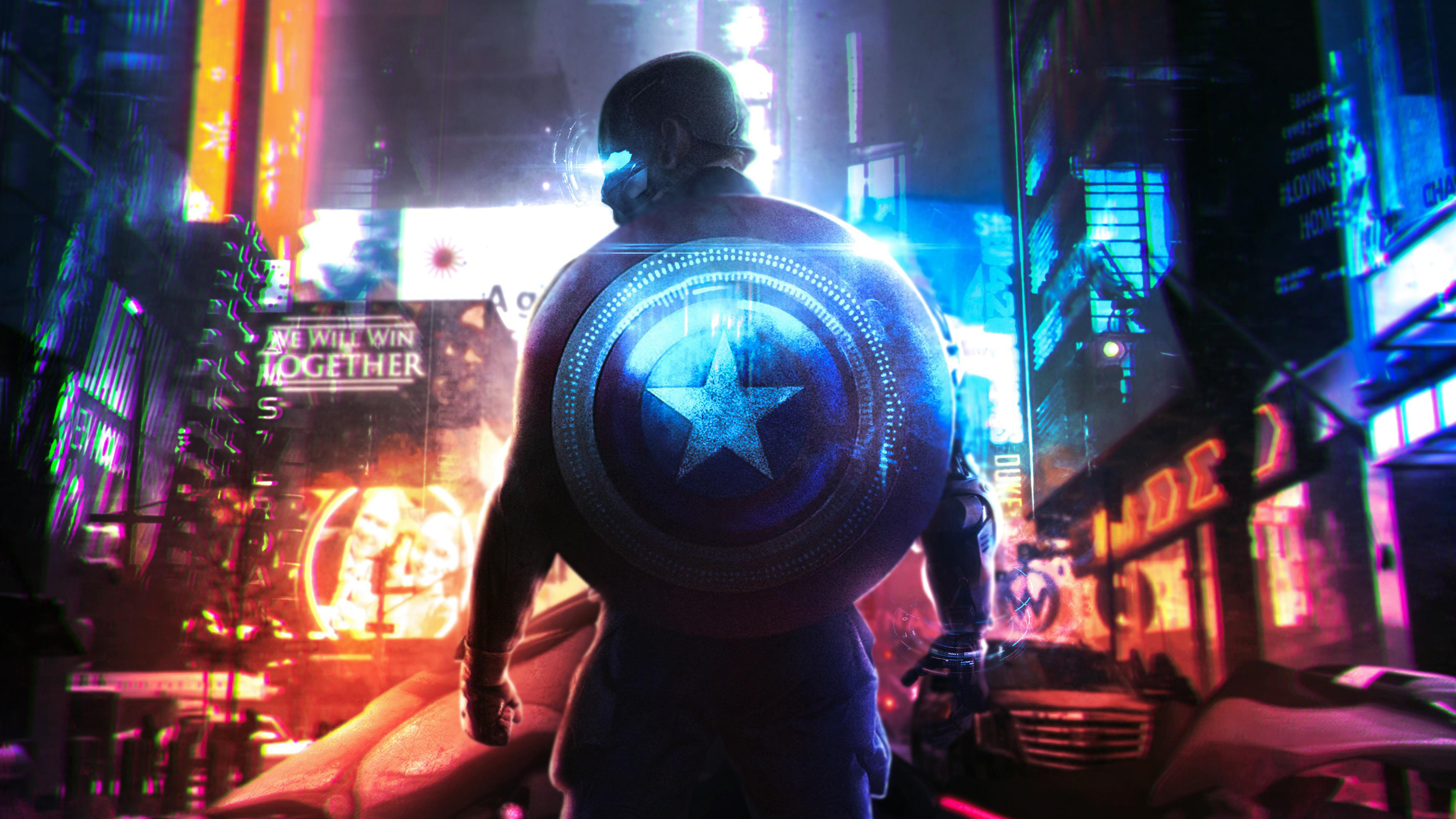 General 3500x1969 digital digital art artwork Steve Rogers Captain America shield Marvel Cinematic Universe Marvel Comics cyber cyberpunk Dark Cyberpunk lights neon neon lights city architecture building urban modern cityscape city lights colorful concept art The Avengers futuristic comics cyan