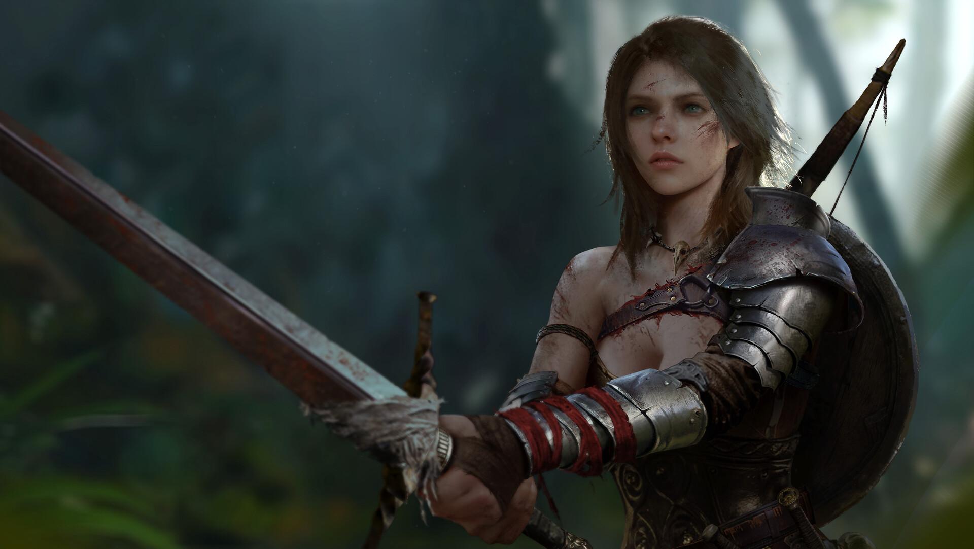 General 1920x1082 artwork digital art women sword armor bow forest fantasy art shoulder length hair Jun Rao