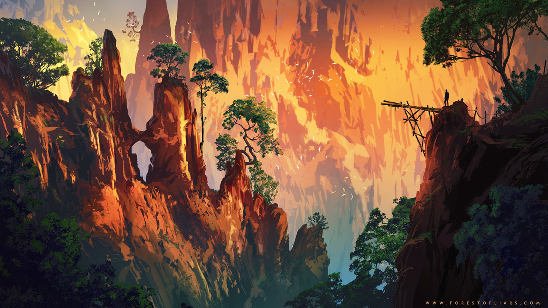 General 1920x1080 Sylvain Sarrailh Forest of Liars cliff landscape birds trees video game art artwork digital art
