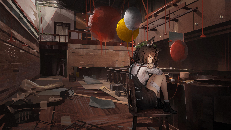 Anime 5935x3346 anime anime girls balloon brunette fox ears piercing Party Room brown eyes sitting
