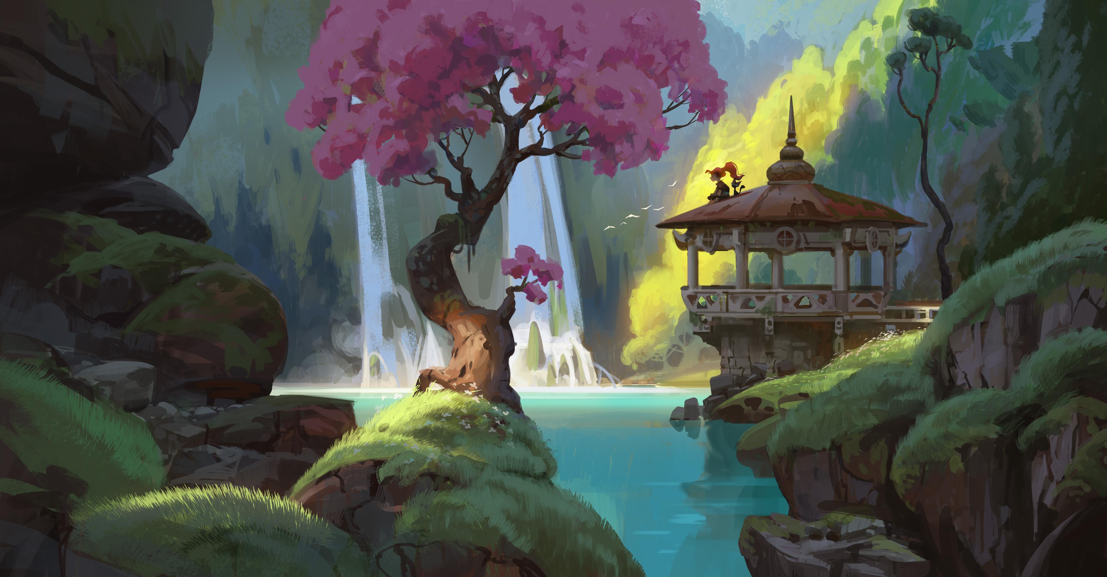 General 3840x2000 Chaichan Artwichai digital fantasy art nature waterfall trees fantasy girl sitting