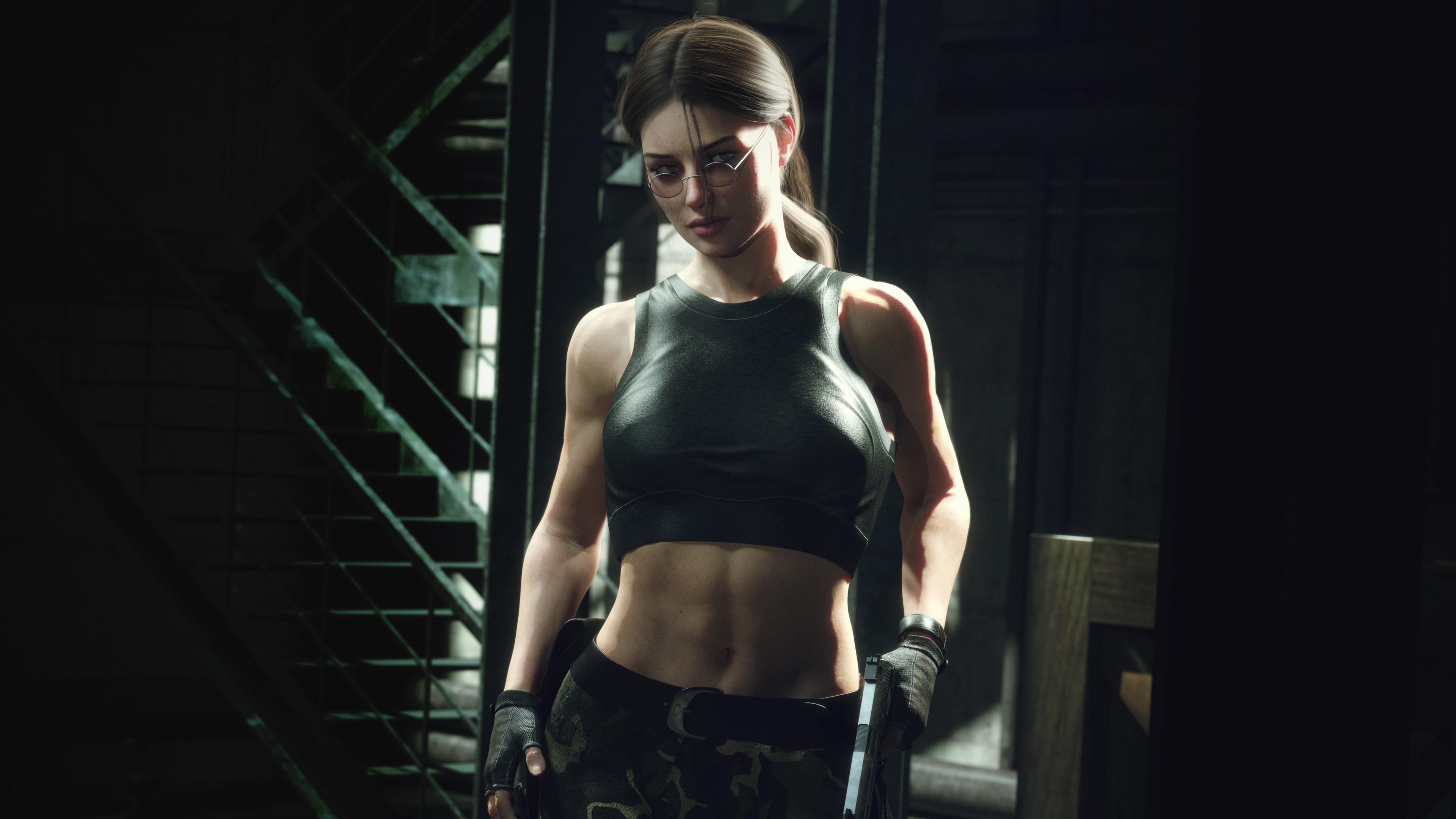 General 3840x2160 Tomb Raider Lara Croft video games women glasses boobs big boobs muscular ponytail gun weapon blurry background eyeshadow eyelashes eyeliner 3D stairs sporty