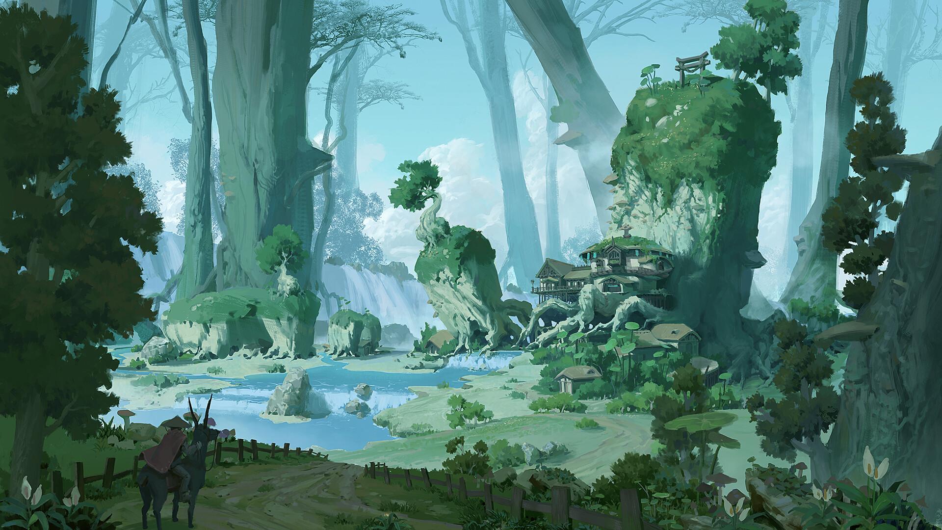 General 1920x1080 fantasy art digital art river forest village waterfall mushroom Pixel Cat fence
